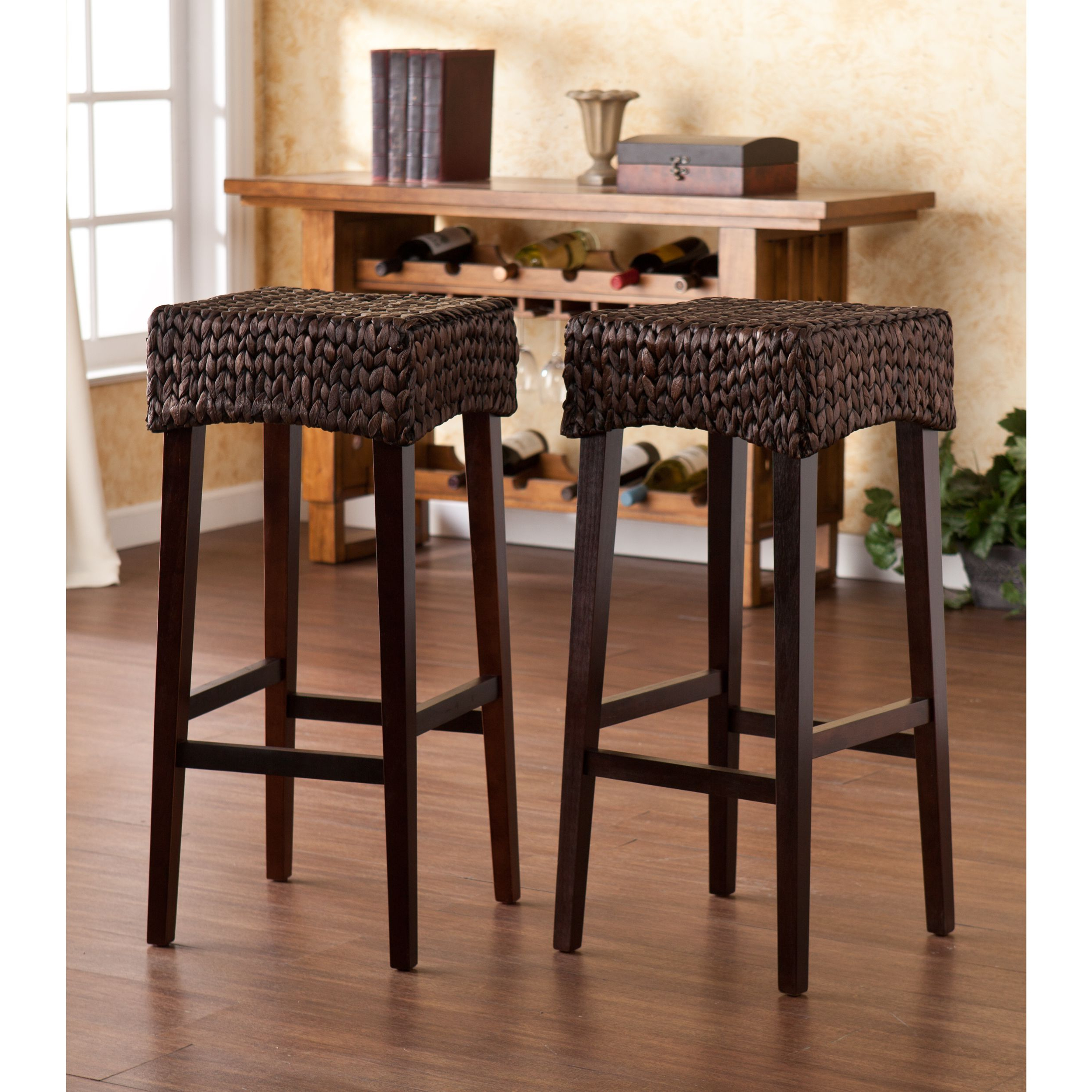 This Pair Of 30 Inch Bar Height Stools Features Beautiful With Regard To Widely Used The Curated Nomad Belize Woven Cocktail Tables (View 19 of 20)