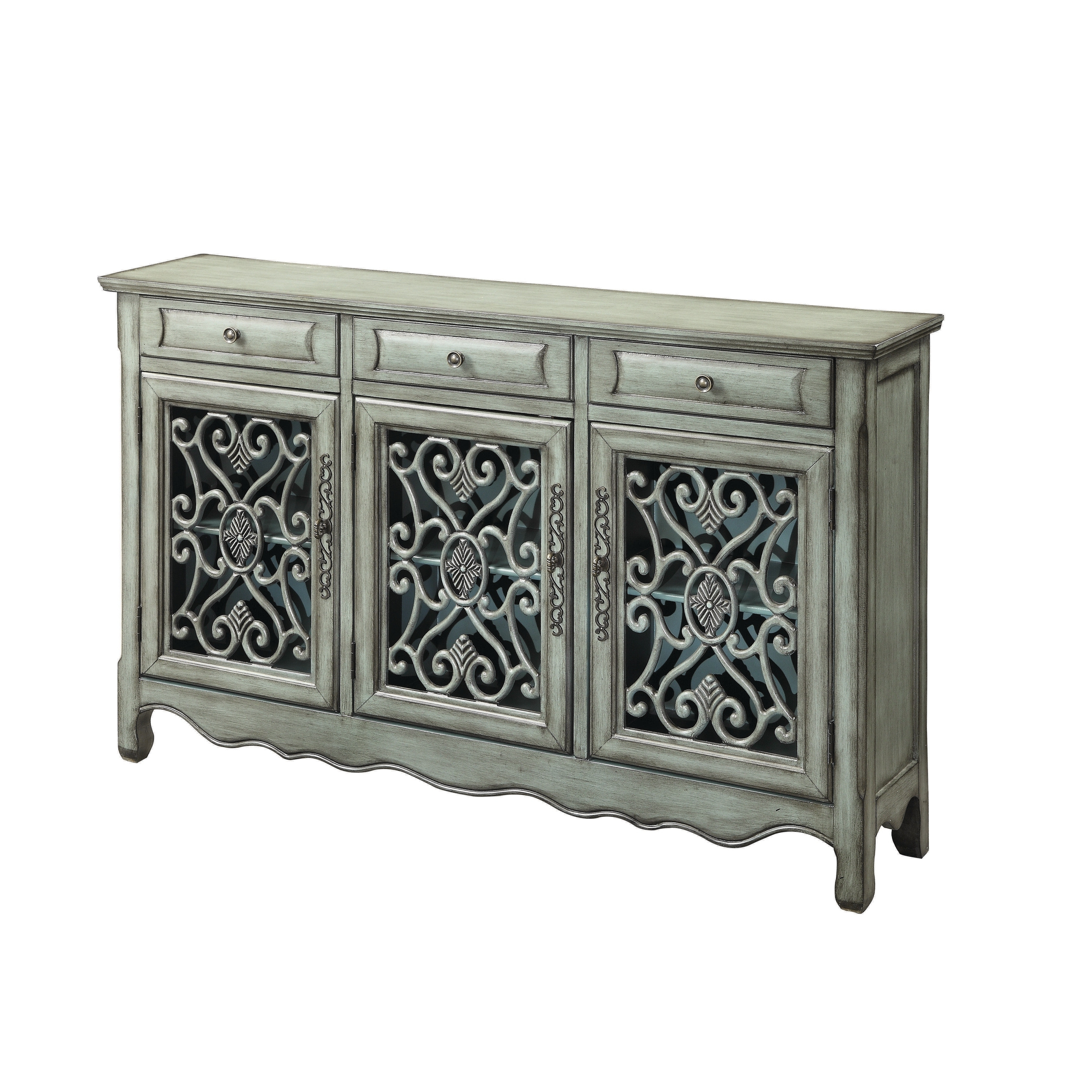 Traditional Antique Green 3 Door Cabinet, Clear, Coaster In Regarding Shoreland Sideboards (View 18 of 20)