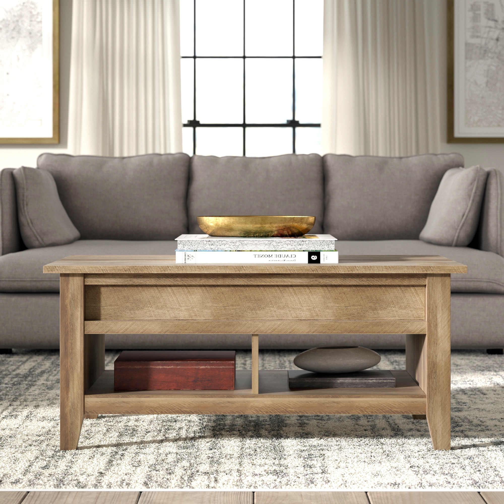 Trendy Bellamy Traditional Weathered Peppercorn Storage Coffee Tables Within Reward Coffee Table Storage Greyleigh Riddleville Lift Top (View 18 of 20)