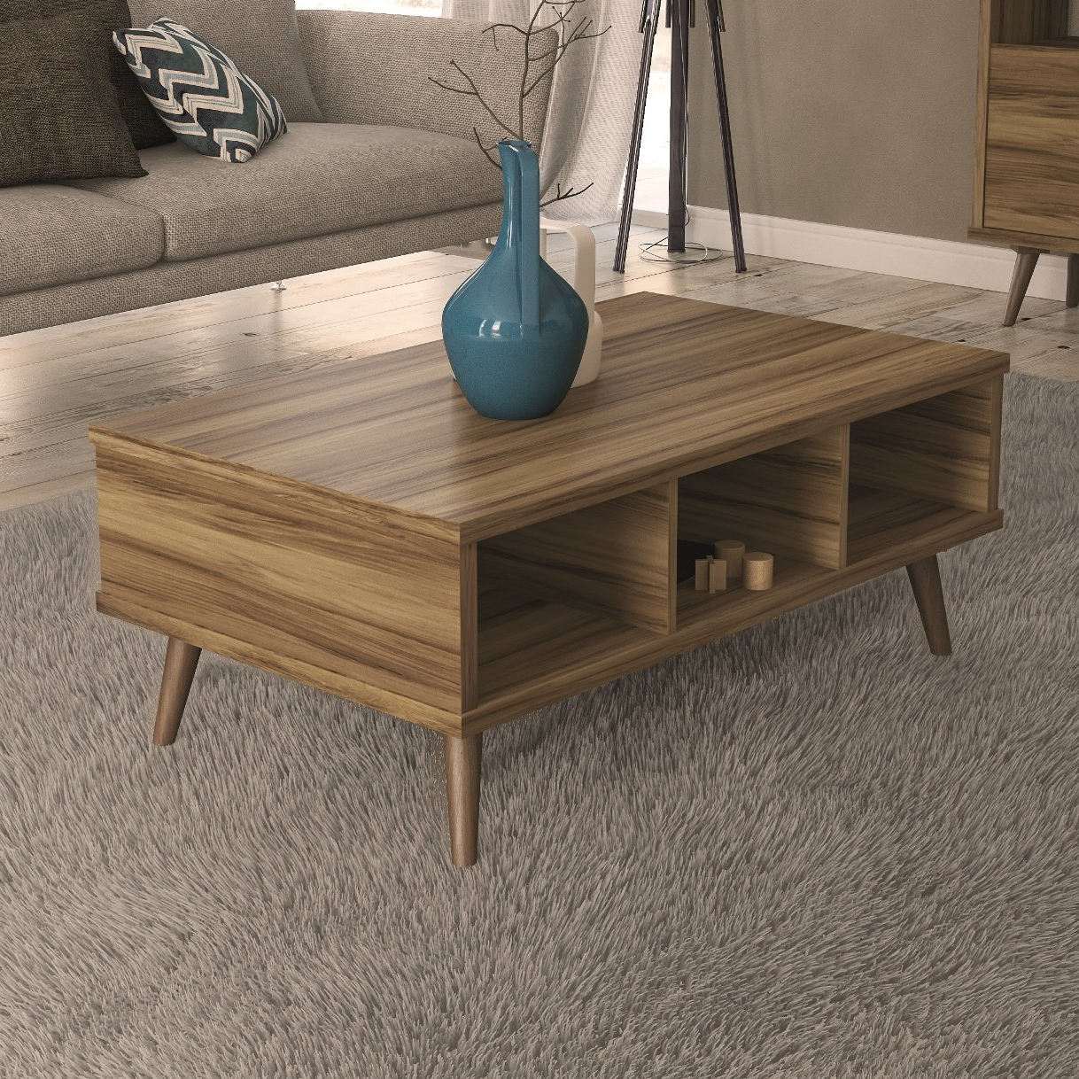 Trendy Carbon Loft Oliver Modern Rustic Natural Fir Coffee Tables With Regard To Brode Coffee Table (View 14 of 20)