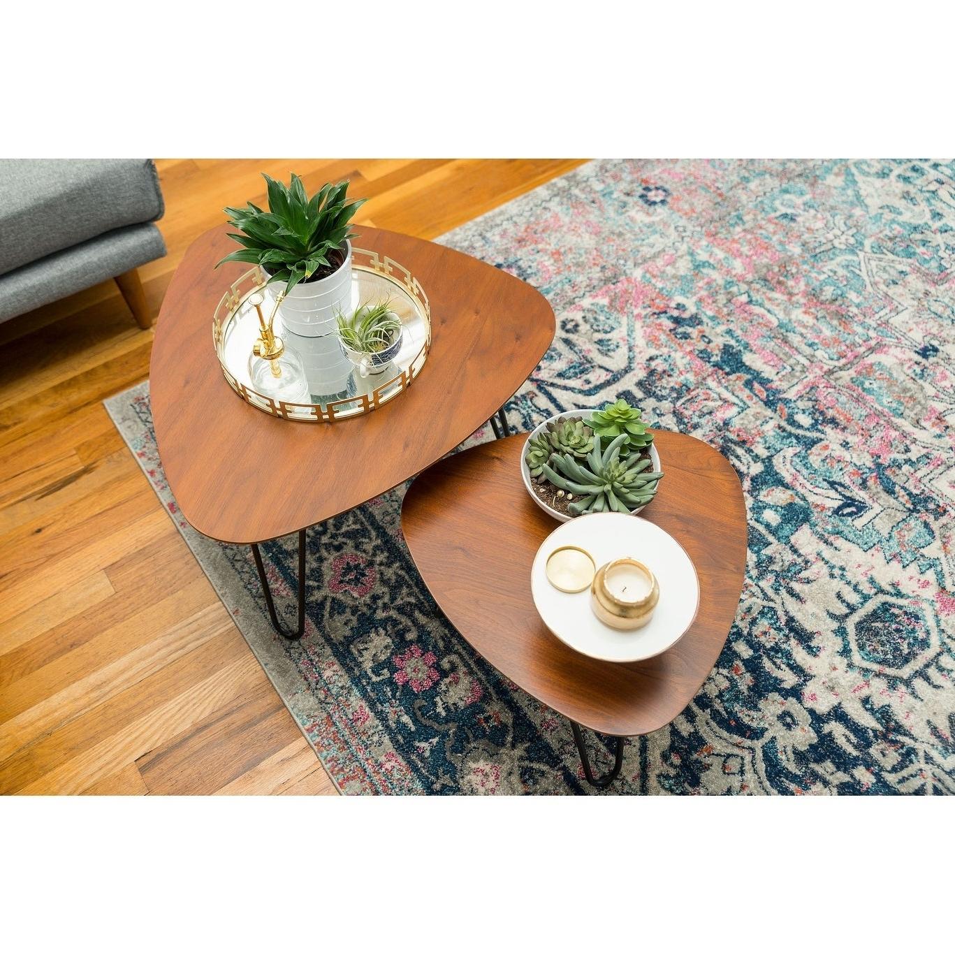 Trendy Carson Carrington Arendal Guitar Pick Nesting Coffee Tables In Carson Carrington Arendal Guitar Pick Nesting Coffee Table Set – 18 X 18 X 15h (View 12 of 20)