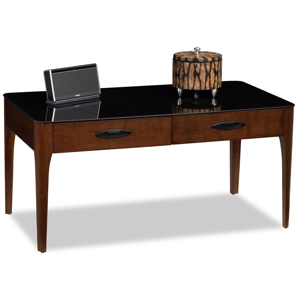 Trendy Copper Grove Obsidian Black Tempered Glass Apartment Coffee Tables Intended For 2 Drawer Chestnut Finish Wood Coffee Table With Black Glass Top (View 16 of 20)