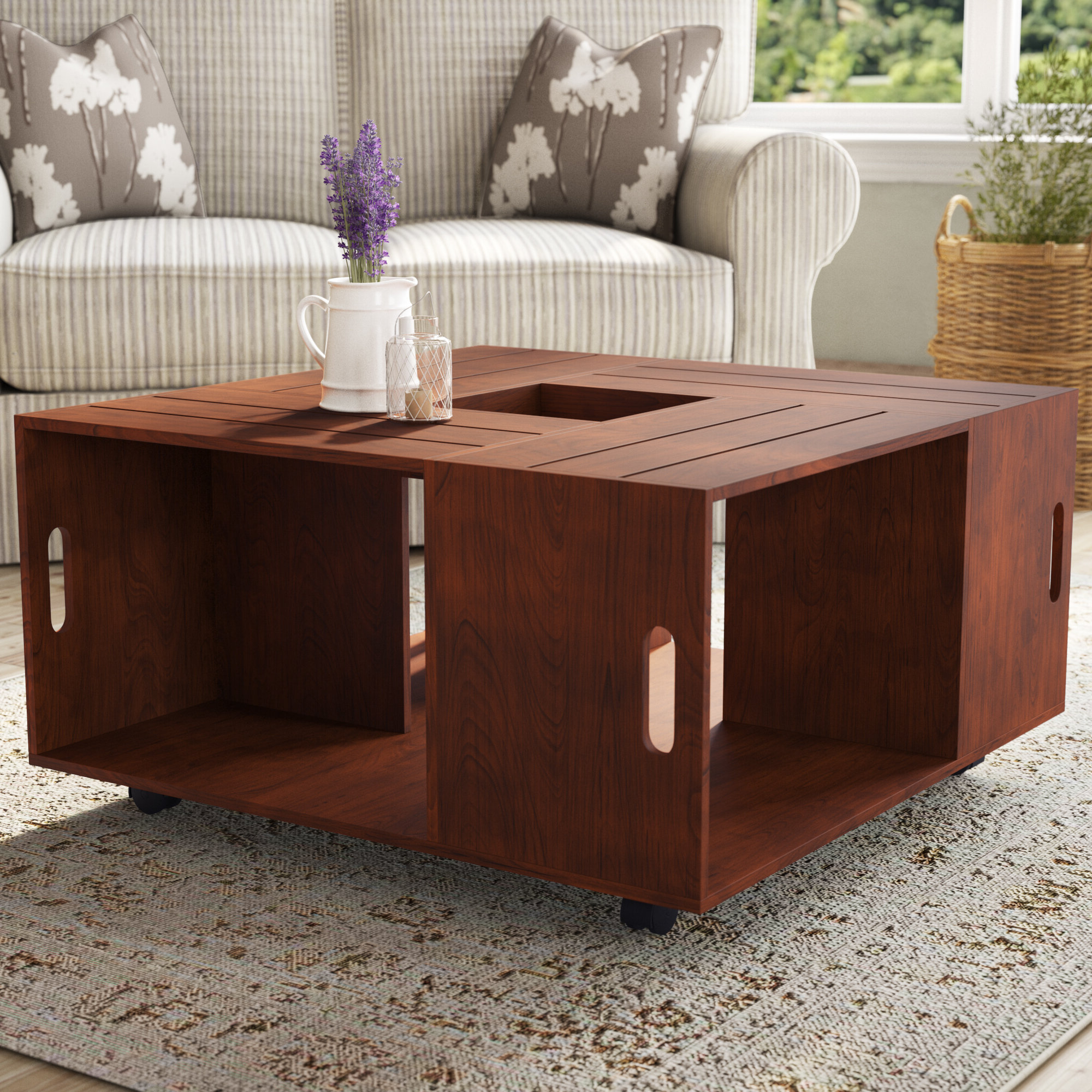 Trendy Dravens Industrial Cherry Coffee Tables In Emerald Cut Coffee Table (View 17 of 20)