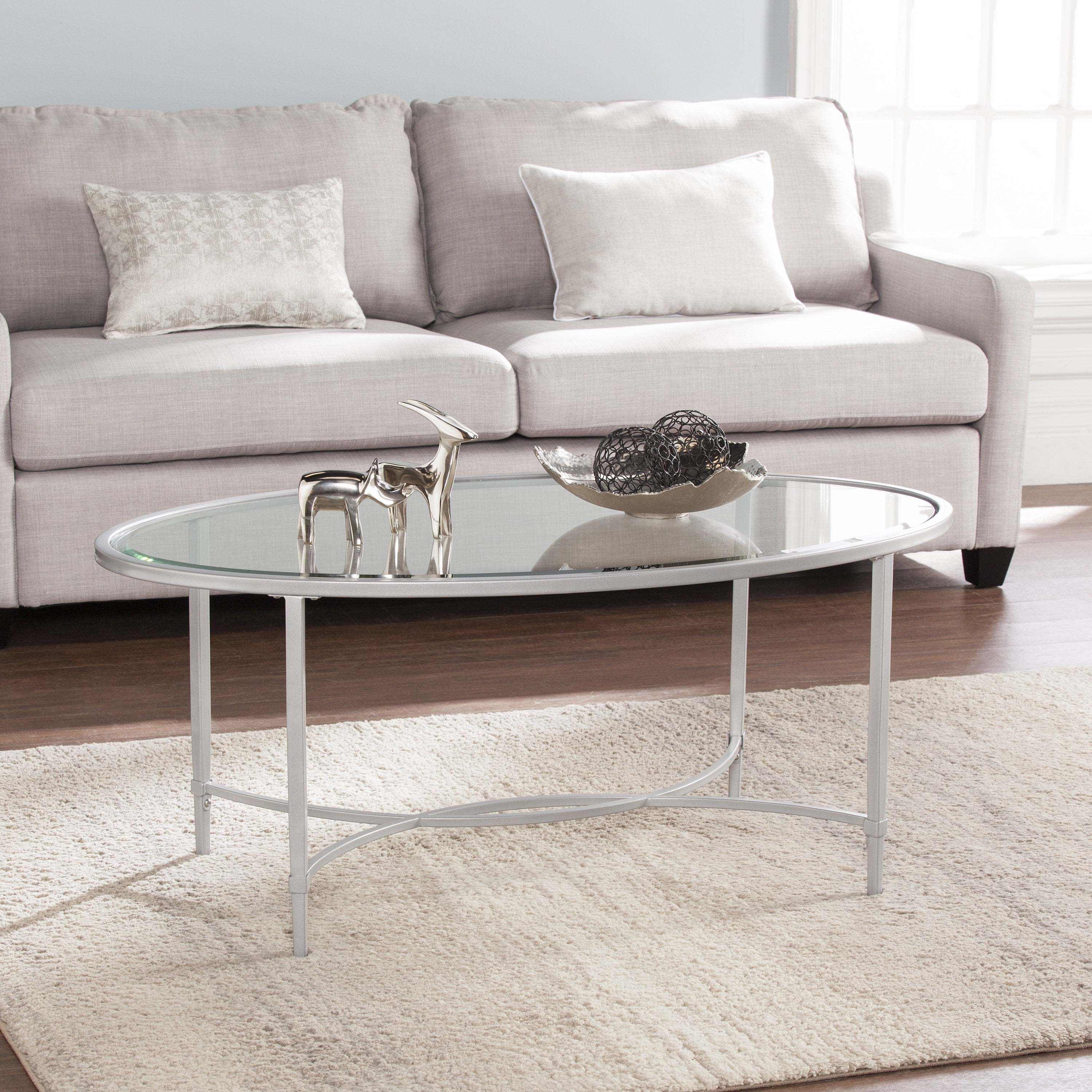 Trendy Harper Blvd Alecia Coffee Cocktail Tables Intended For Harper Blvd Quaker Metal/glass Oval Cocktail Table – Silver (View 14 of 20)