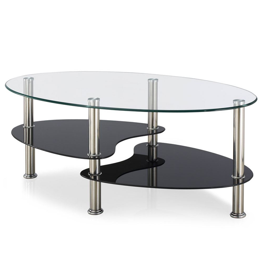 Trendy Occasional Contemporary Black Coffee Tables With Details About Cara Coffee Table Clear Black Glass Top Stainless Steel  Modern Oval Living Room (View 18 of 20)