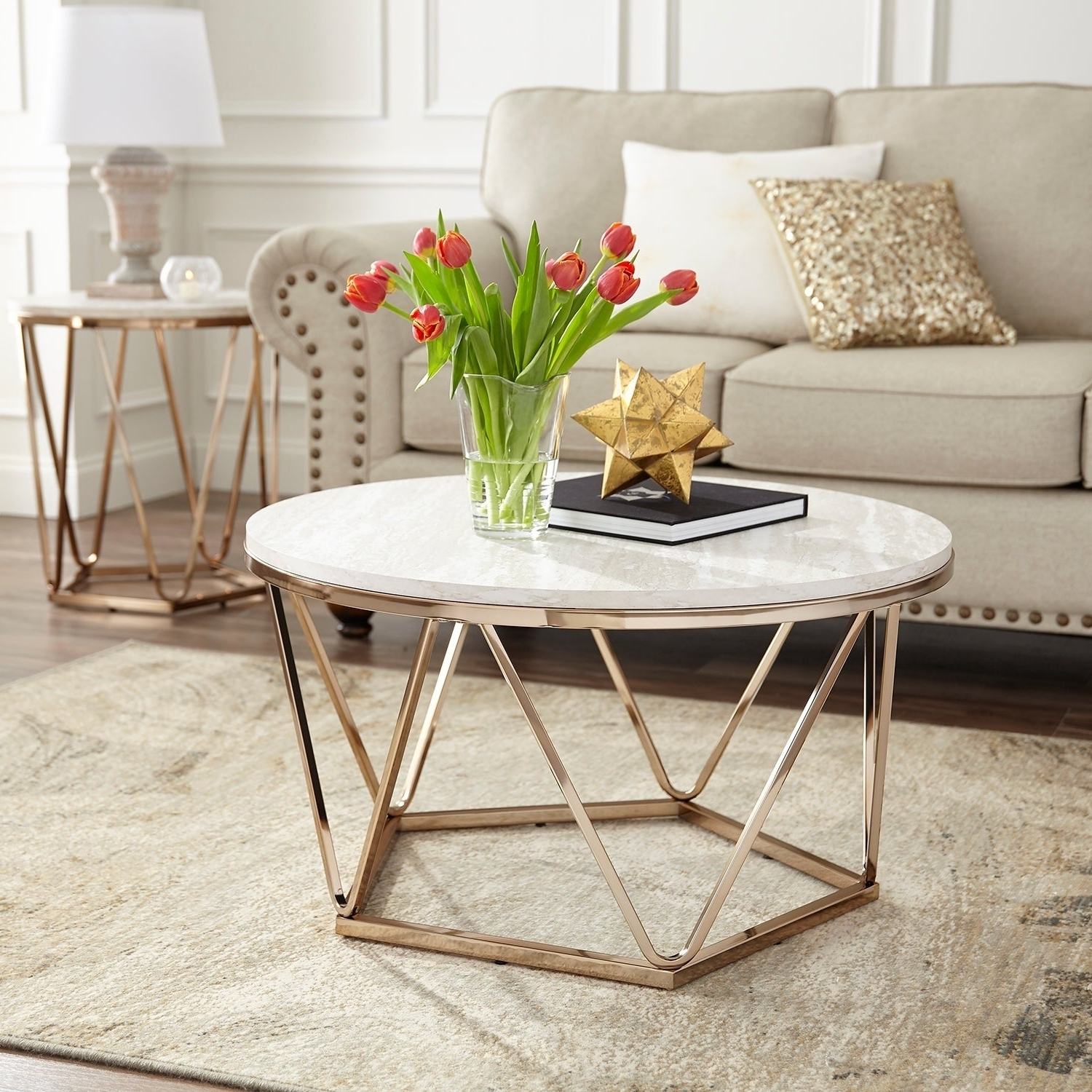 Trendy Silver Orchid Henderson Faux Stone Round End Tables With Silver Orchid Henderson Faux Stone Goldtone Round Coffee Table (View 6 of 20)
