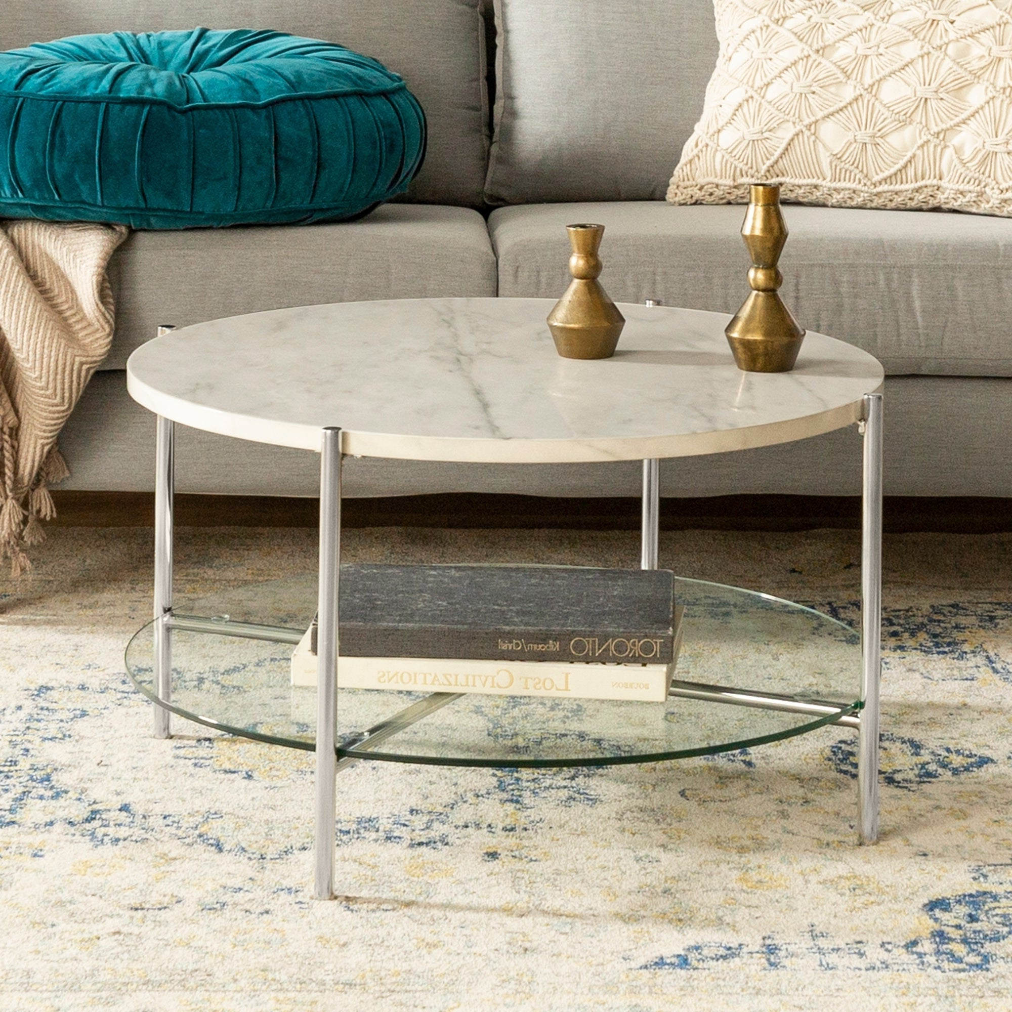 Trendy Silver Orchid Ipsen Round Coffee Tables With X Base In Silver Orchid 32 Inch Ipsen Round Coffee Table, Modern, Faux Marble Accent Cocktail Table For Living Room – 32 X 32 X 17h (View 6 of 20)