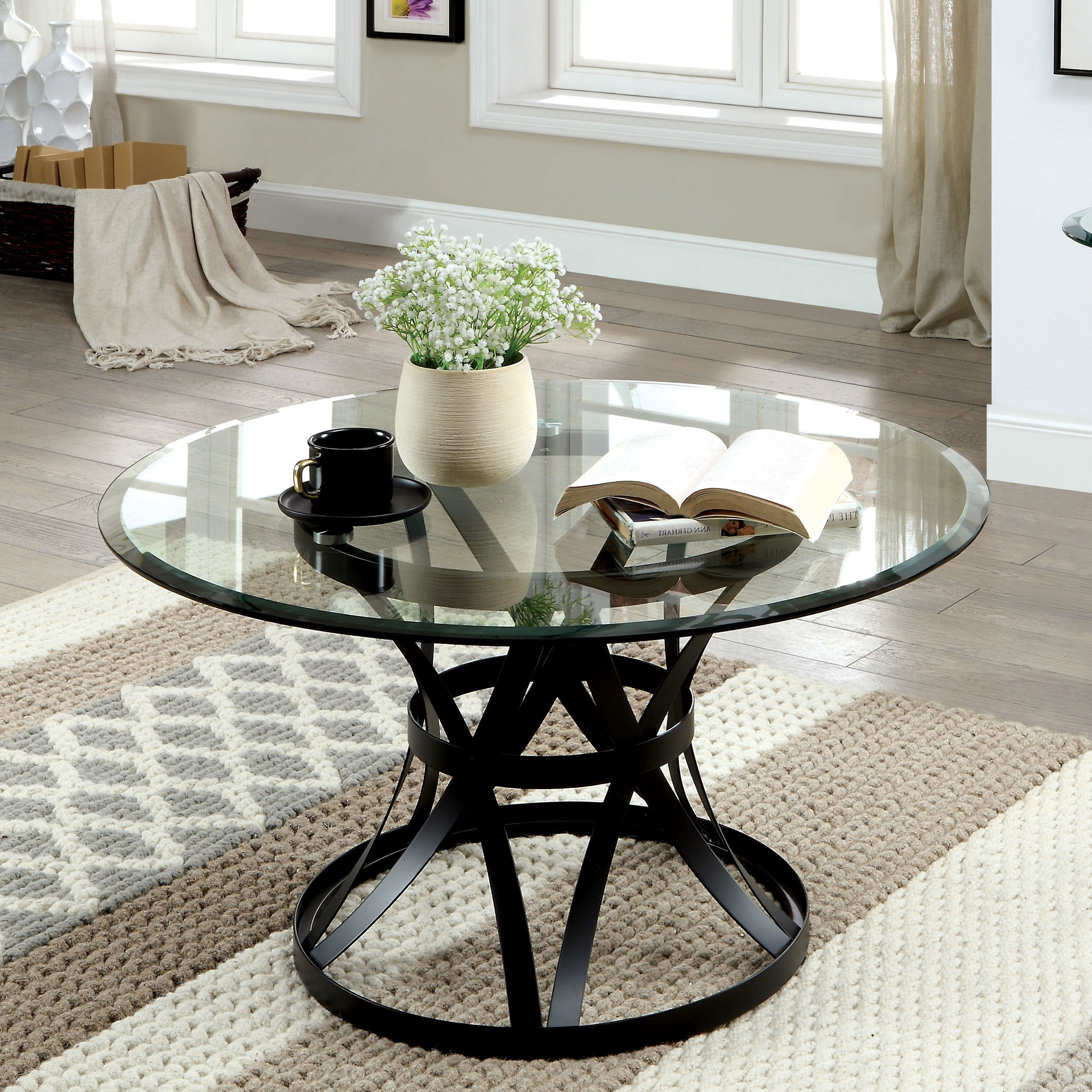 Trendy Velma Modern Satin Plated Coffee Tables Pertaining To Copper Grove Chirokitia Black Metal And Glass Coffee Table (View 15 of 20)