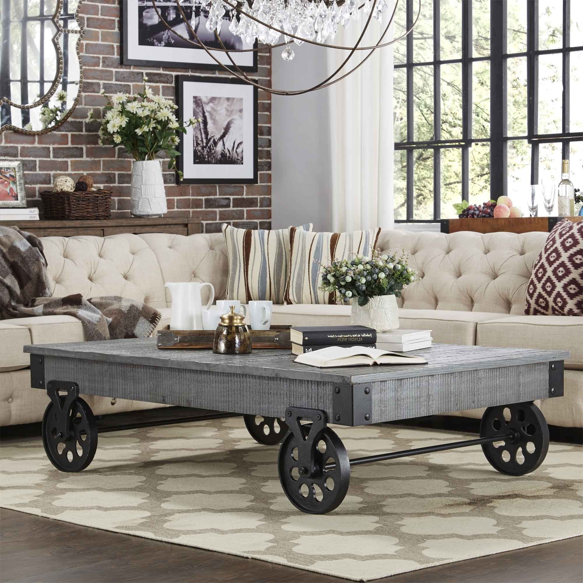 Tribecca Home Myra Vintage Industrial Modern Rustic 58 Inch With Famous Myra Vintage Industrial Modern Rustic 47 Inch Coffee Tables (View 19 of 20)