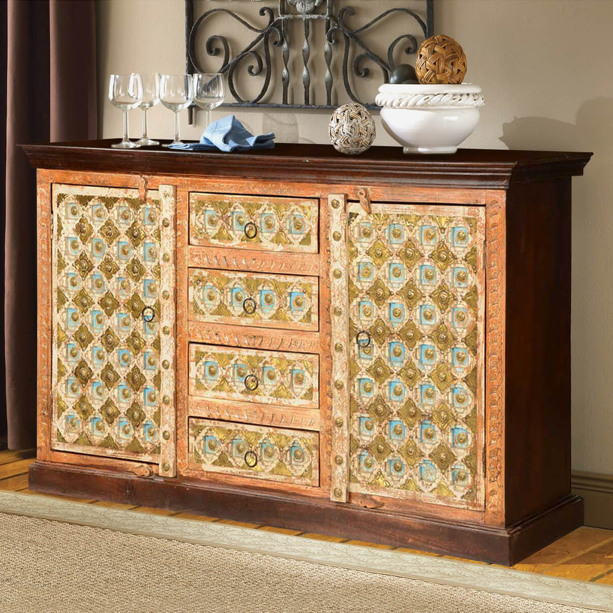 Turkish Handcrafted Brass Inlay Mango Wood 4 Drawer Large Sideboard Inside Colborne Sideboards (View 18 of 20)