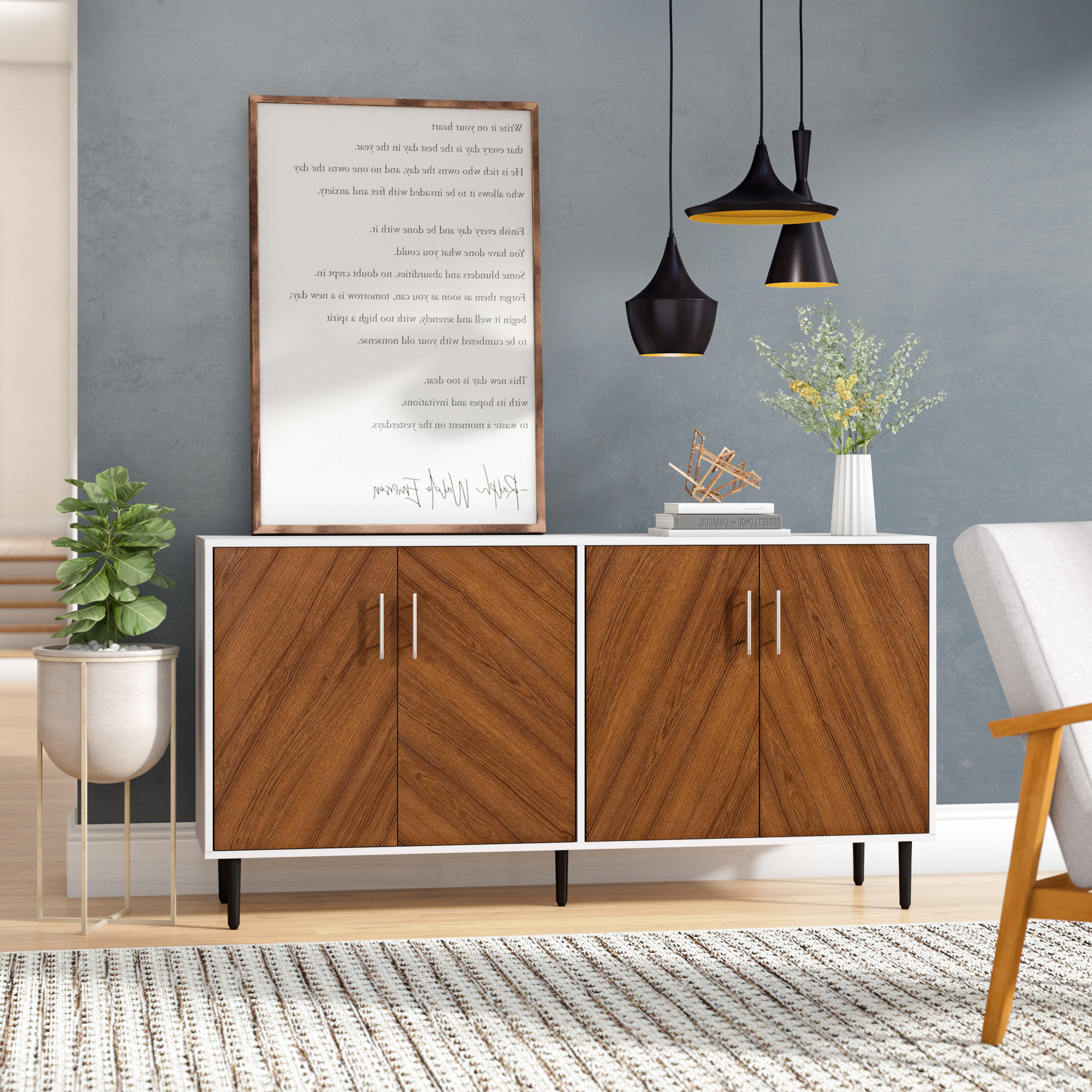 Turn On The Brights Keiko Modern Bookmatch Buffet Table In Keiko Modern Bookmatch Sideboards (View 4 of 20)