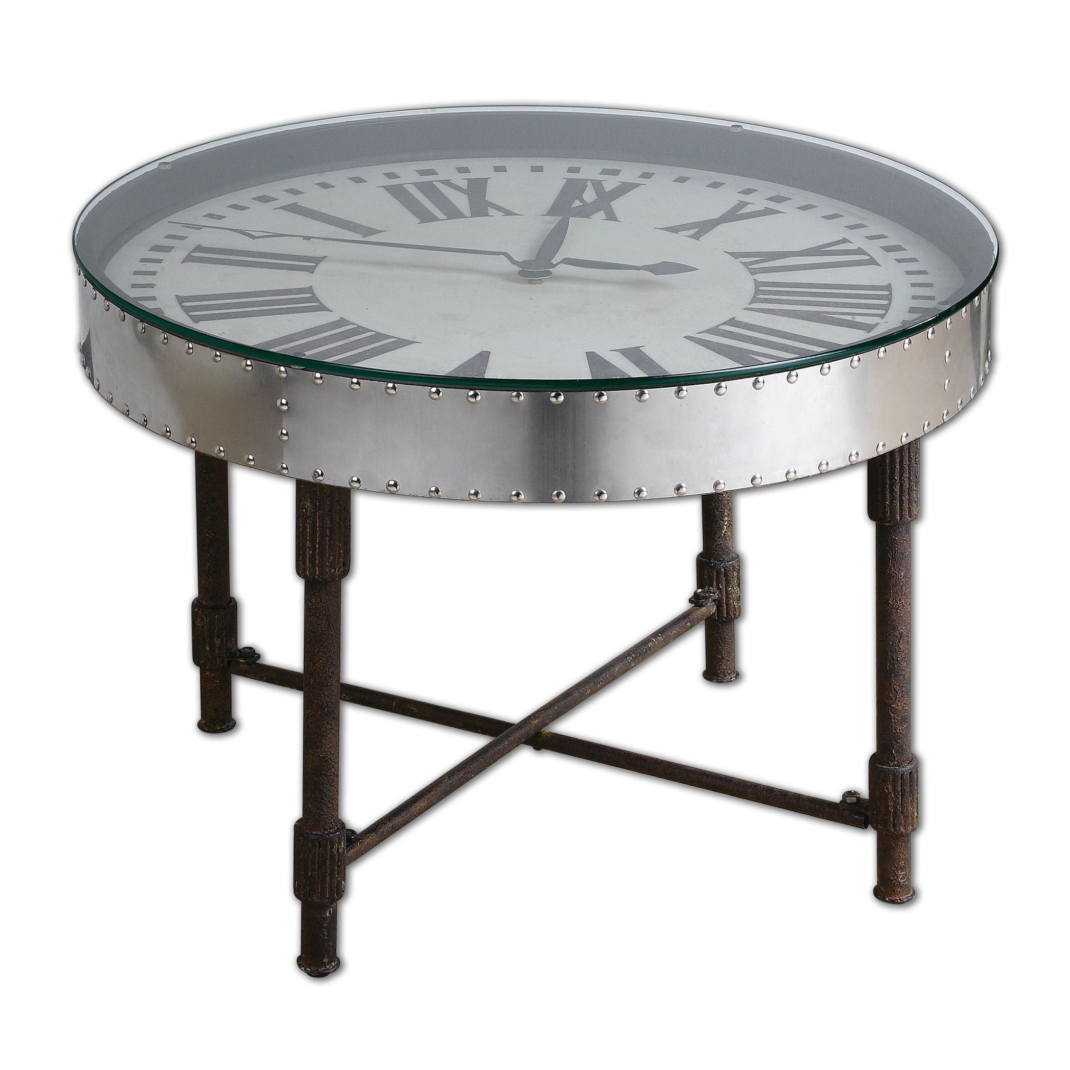 Uttermost Cassem Aluminum Clock Table With Favorite Carbon Loft Heimlich Pewter Steel/glass Round Coffee Tables (View 19 of 20)