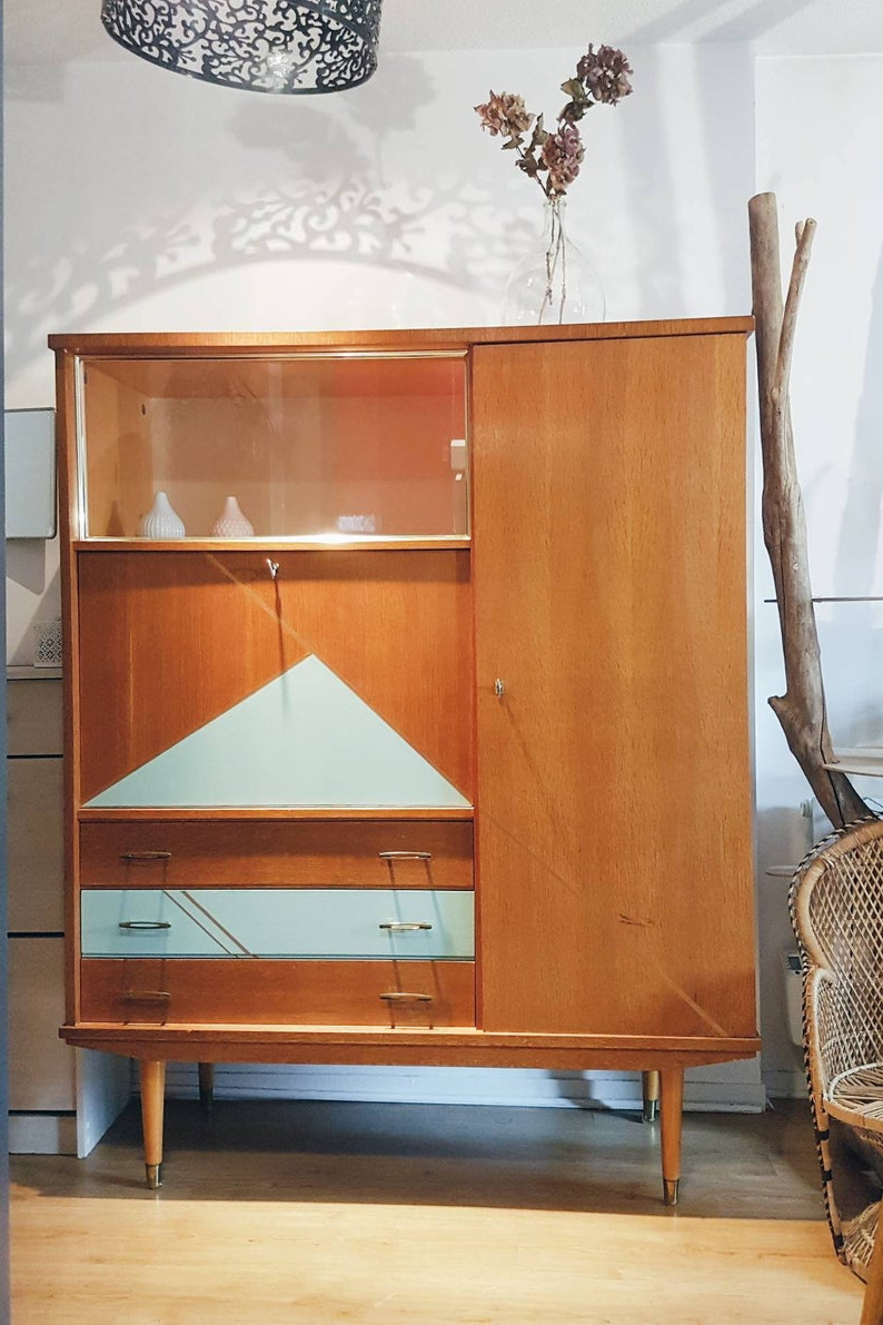 Vintage Cabinet Secretary 50S Showcase Scandinavian Furniture Revamped Gift  Idea Library Wardrobe Cabinet Vintage Old Desk For Saint Gratien Sideboards (Gallery 20 of 20)