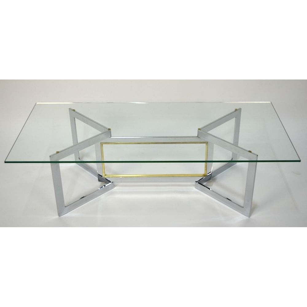 Vintage Mid Century Modern French Brass And Chrome Glass Inside Latest Cortesi Home Remi Contemporary Chrome Glass Coffee Tables (View 16 of 20)
