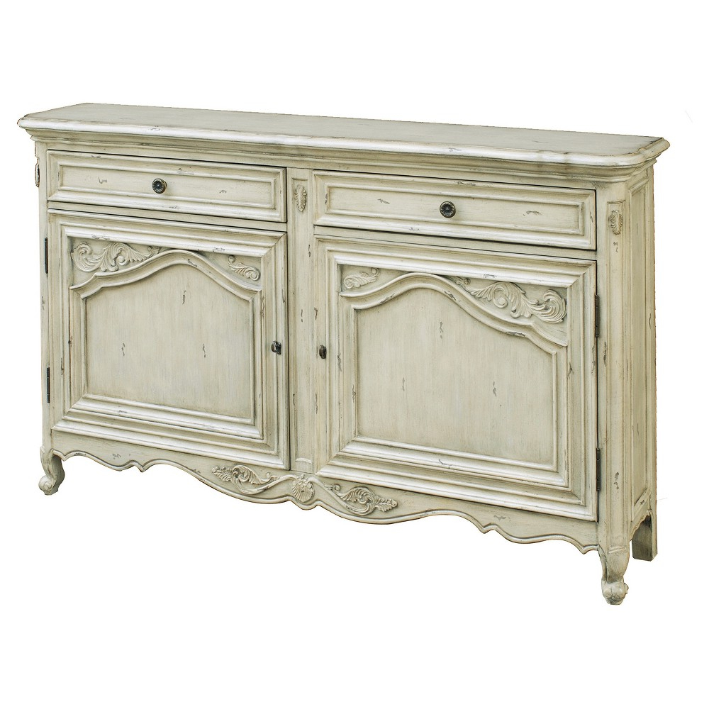 Vista Antique Carved Door Console – White – Pulaski In 2019 Within Dormer Sideboards (Gallery 11 of 20)