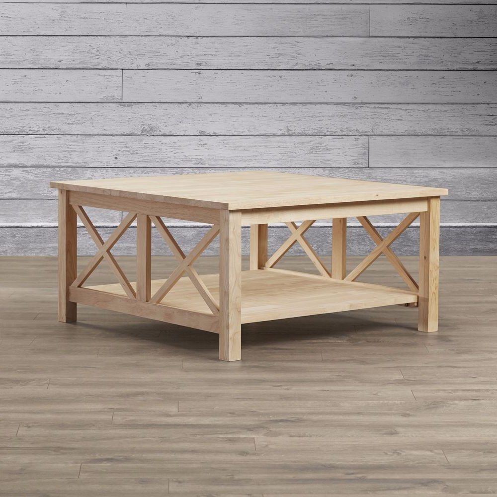 Walden Wood Coffee Table Unfinished Square Huge Sturdy Solid With Best And Newest 'hampton' Unfinished Solid Parawood Square Coffee Tables (View 17 of 20)