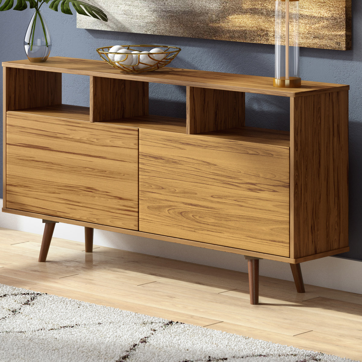 Weisgerber Contemporary Buffet Table Throughout Keiko Modern Bookmatch Sideboards (View 9 of 20)