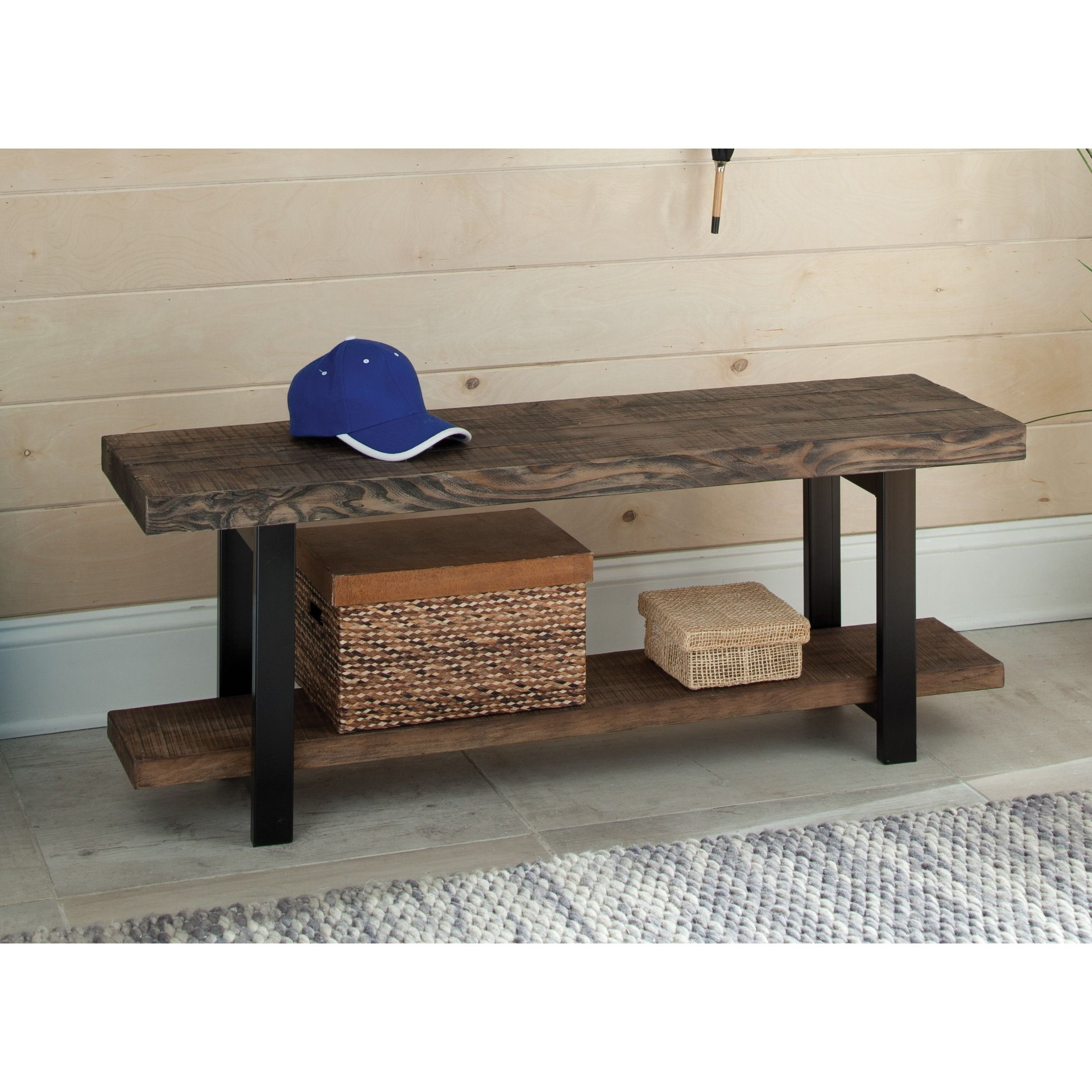 Well Known Carbon Loft Lawrence Metal And Reclaimed Wood Coffee Tables Within The Gray Barn Michaelis Reclaimed Wood Bench With Shelf (View 20 of 20)