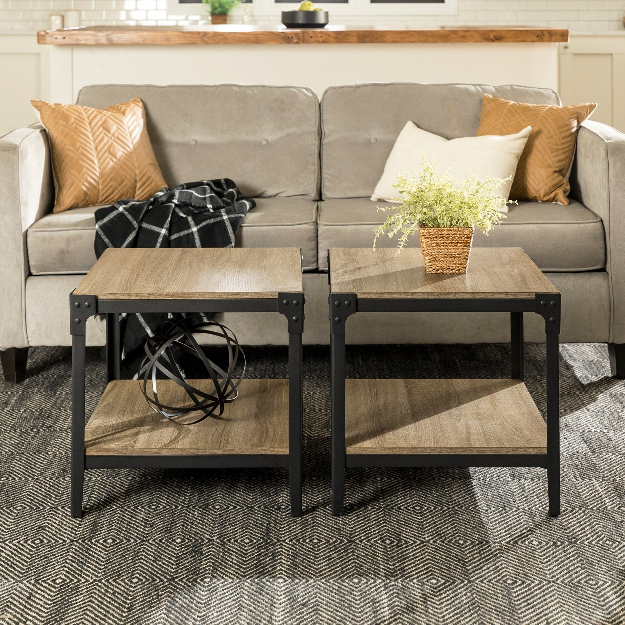 Well Known Carbon Loft Witten Angle Iron And Driftwood Coffee Tables Inside Carbon Loft Witten Angle Iron End Table (Set Of 2) – 20 X 20 X 20H (View 19 of 20)