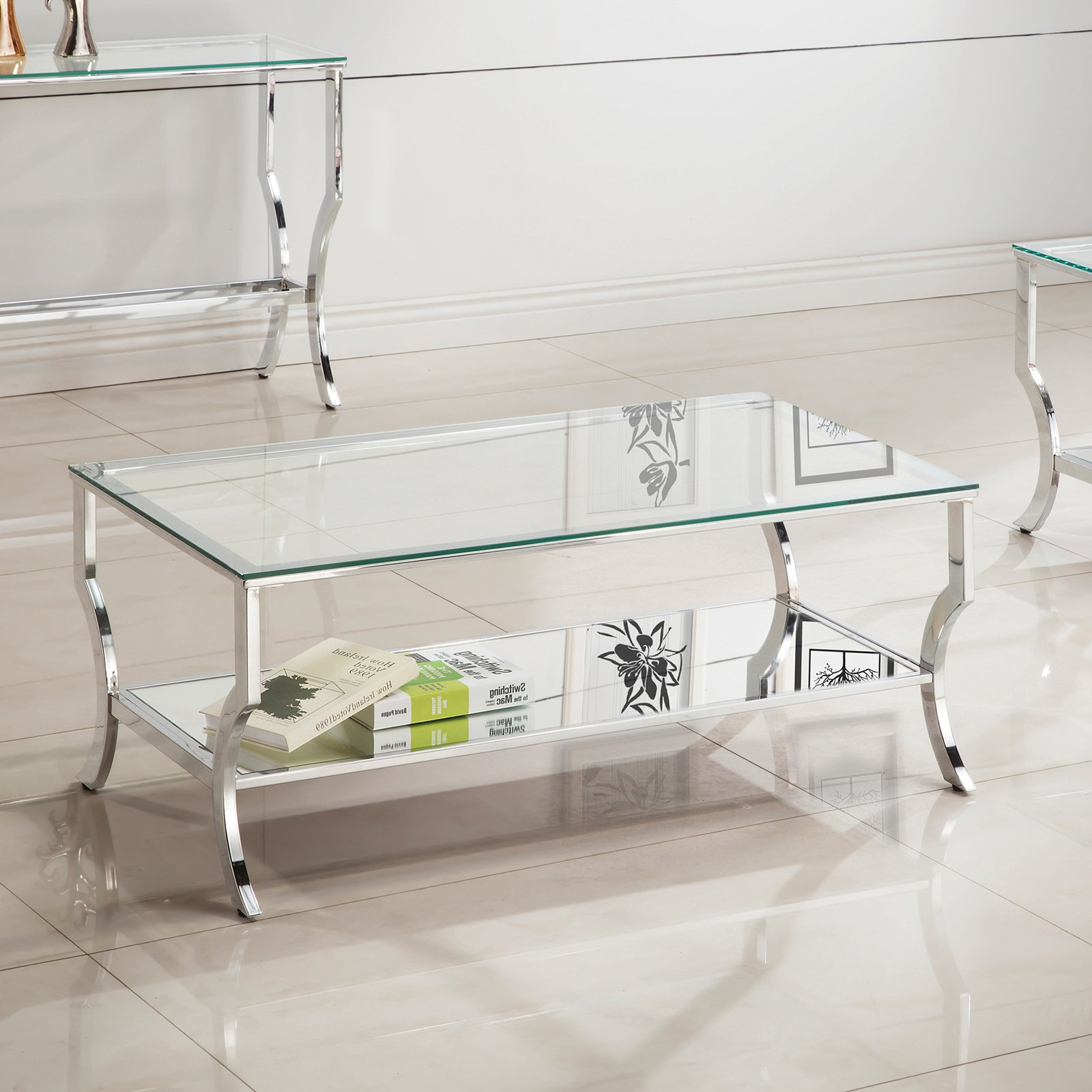 Well Known Coaster Company Silver Glass Coffee Tables For Coaster Company Coffee Table, Chrome And Tempered Glass (View 4 of 20)