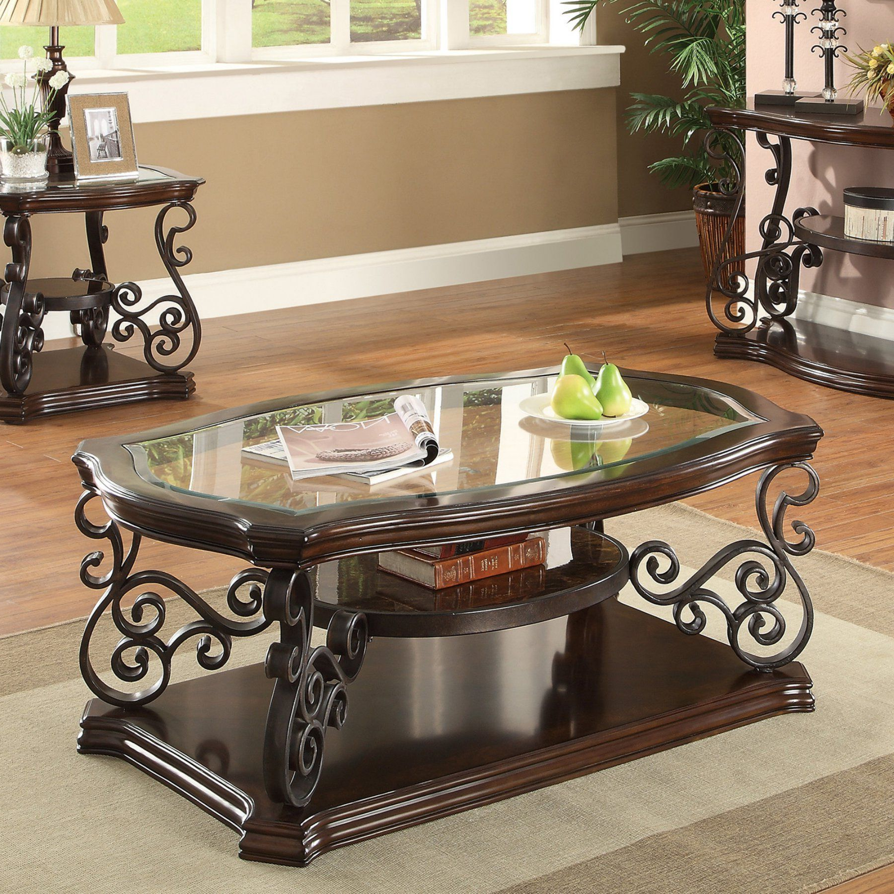 Well Known Cohler Traditional Brown Cherry Oval Coffee Tables Throughout Coaster Furniture Contemporary Glass Top Coffee Table (View 9 of 20)