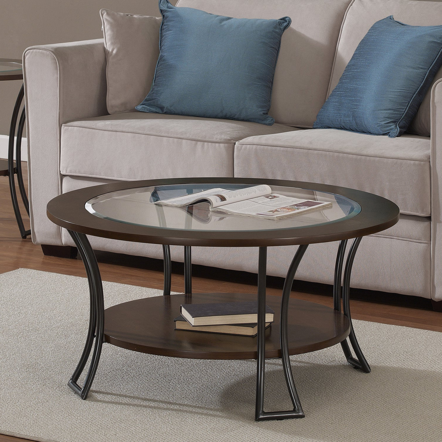 Well Known Copper Grove Halesia Chocolate Bronze Round Coffee Tables Intended For Copper Grove Carlisle Walnut/ Charcoal Grey Round Coffee Table (View 15 of 20)