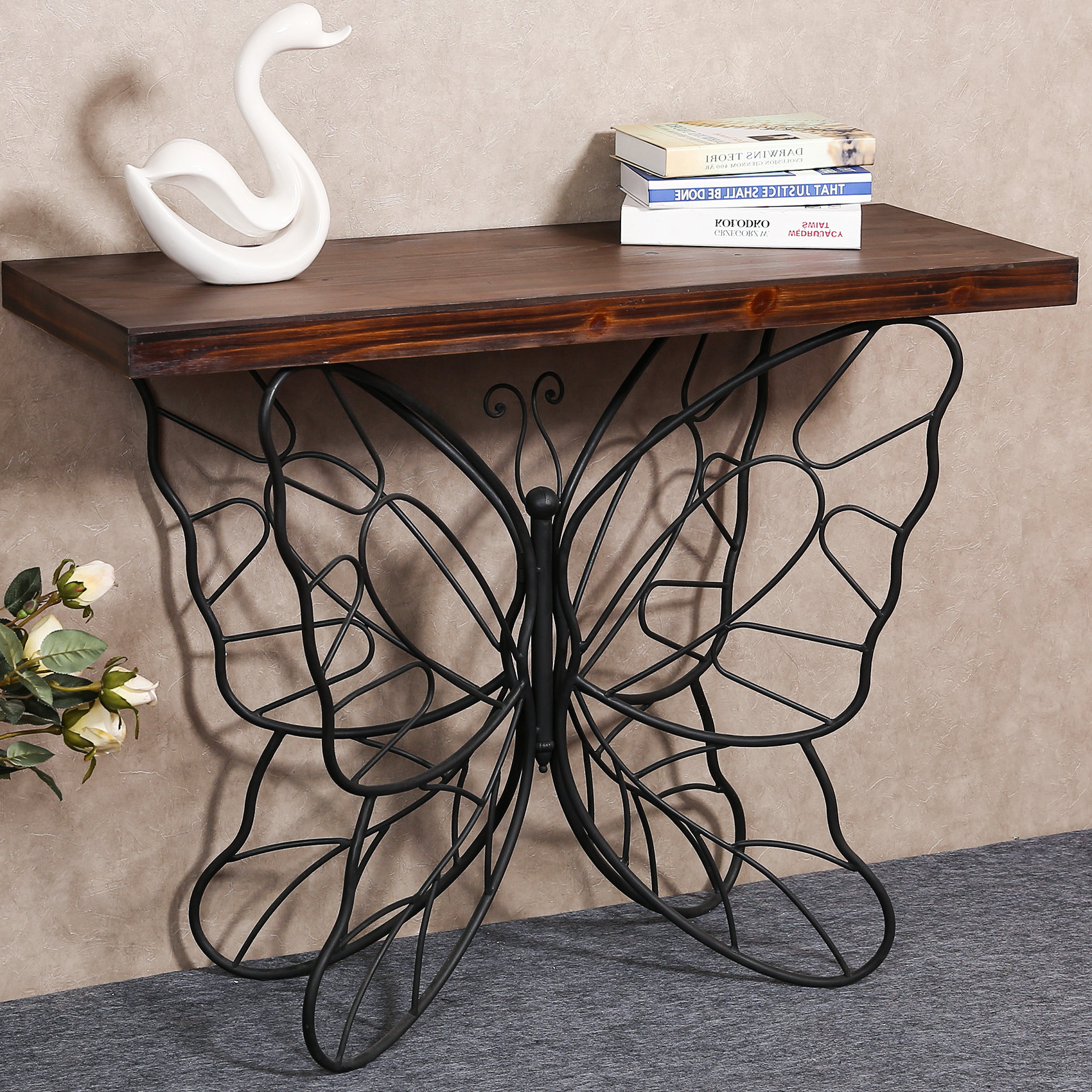Well Known Copper Grove Ixia Rustic Oak And Slate Tile Coffee Tables For Details About August Grove Shiela Butterfly Console Table (View 11 of 20)