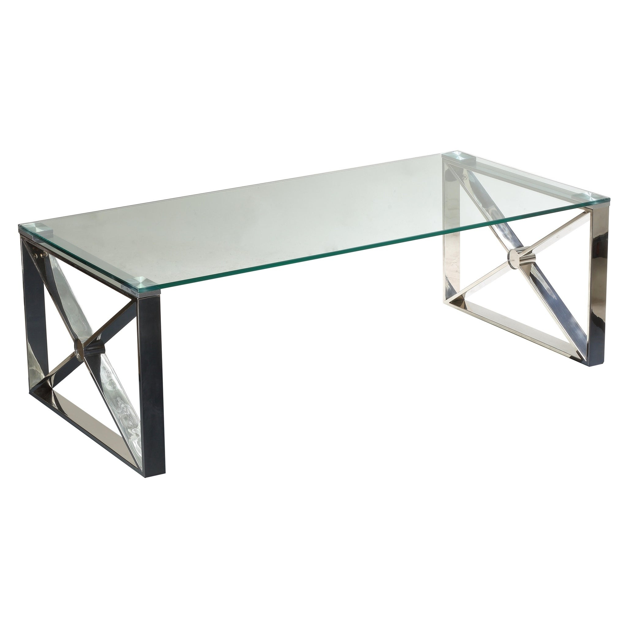 Well Known Cortesi Home Remi Contemporary Chrome Glass Coffee Tables For Cortesi Home Moses Clear Glass/polished Stainless Steel Coffee Table (View 18 of 20)