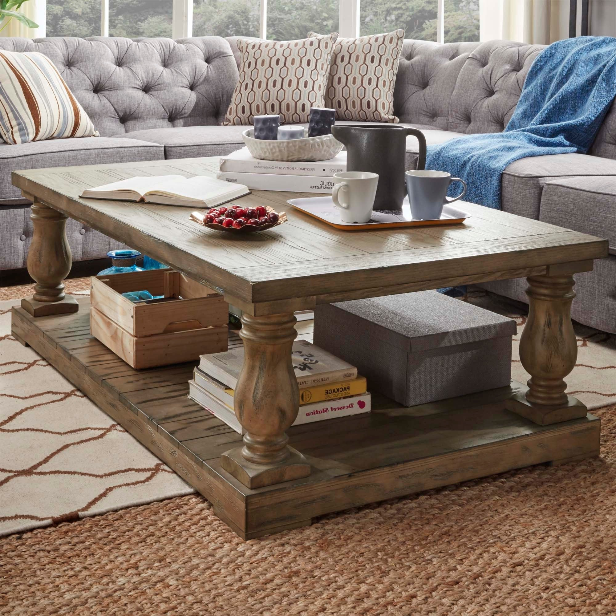 Featured Photo of Edmaire Rustic Pine Baluster Coffee Tables
