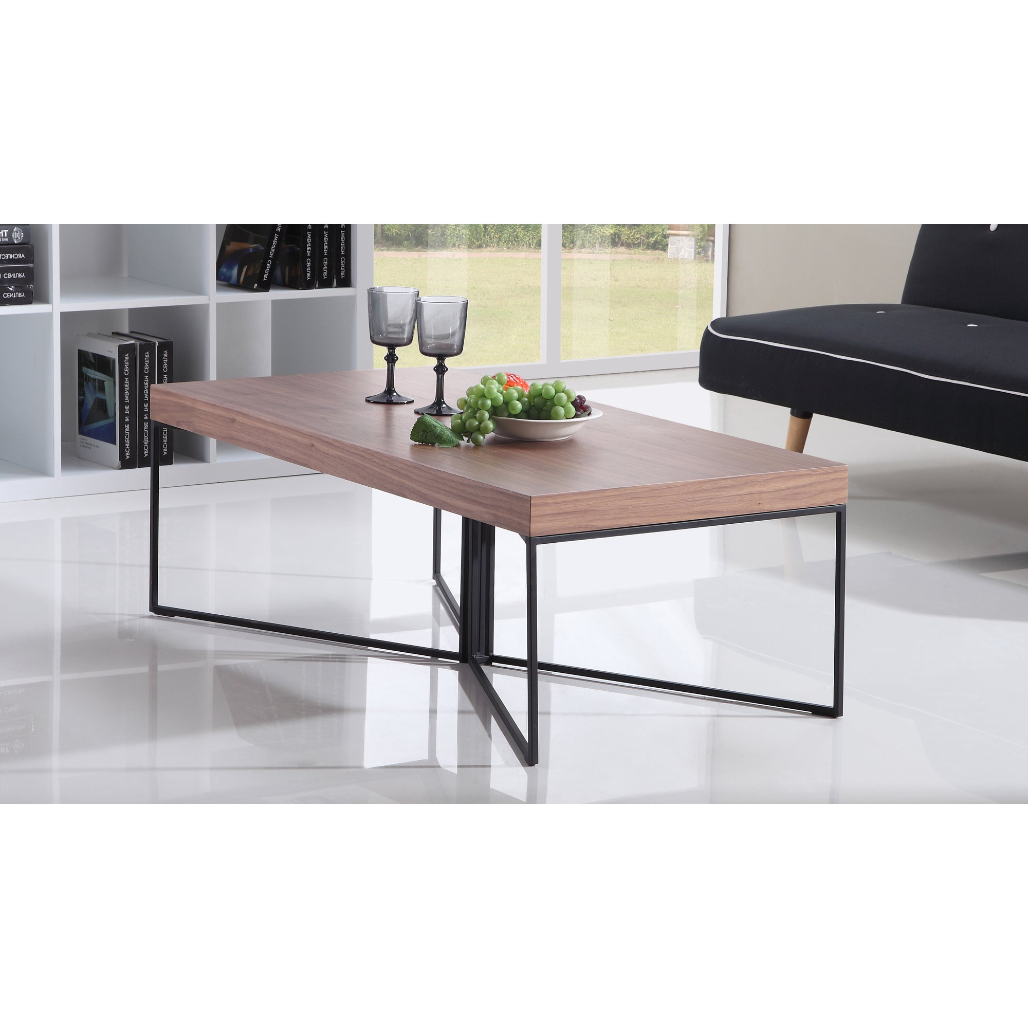Well Known Evalline Modern Dark Walnut Coffee Tables Within Mixer Light Walnut And Black Steel Coffee Tableb Modern (View 13 of 20)