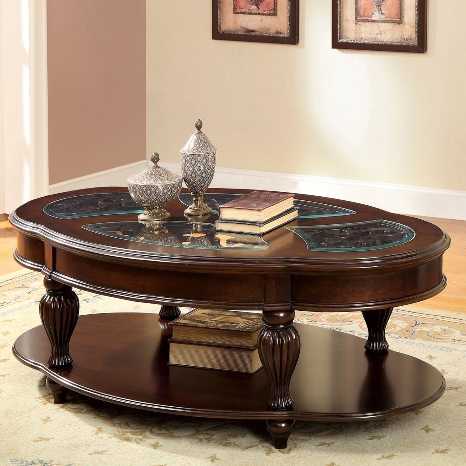 Well Known Furniture Of America Crescent Dark Cherry Glass Top Oval Coffee Tables Pertaining To Zerathe Traditional Dark Cherry Glass Top Coffee Tablefoa (View 9 of 20)