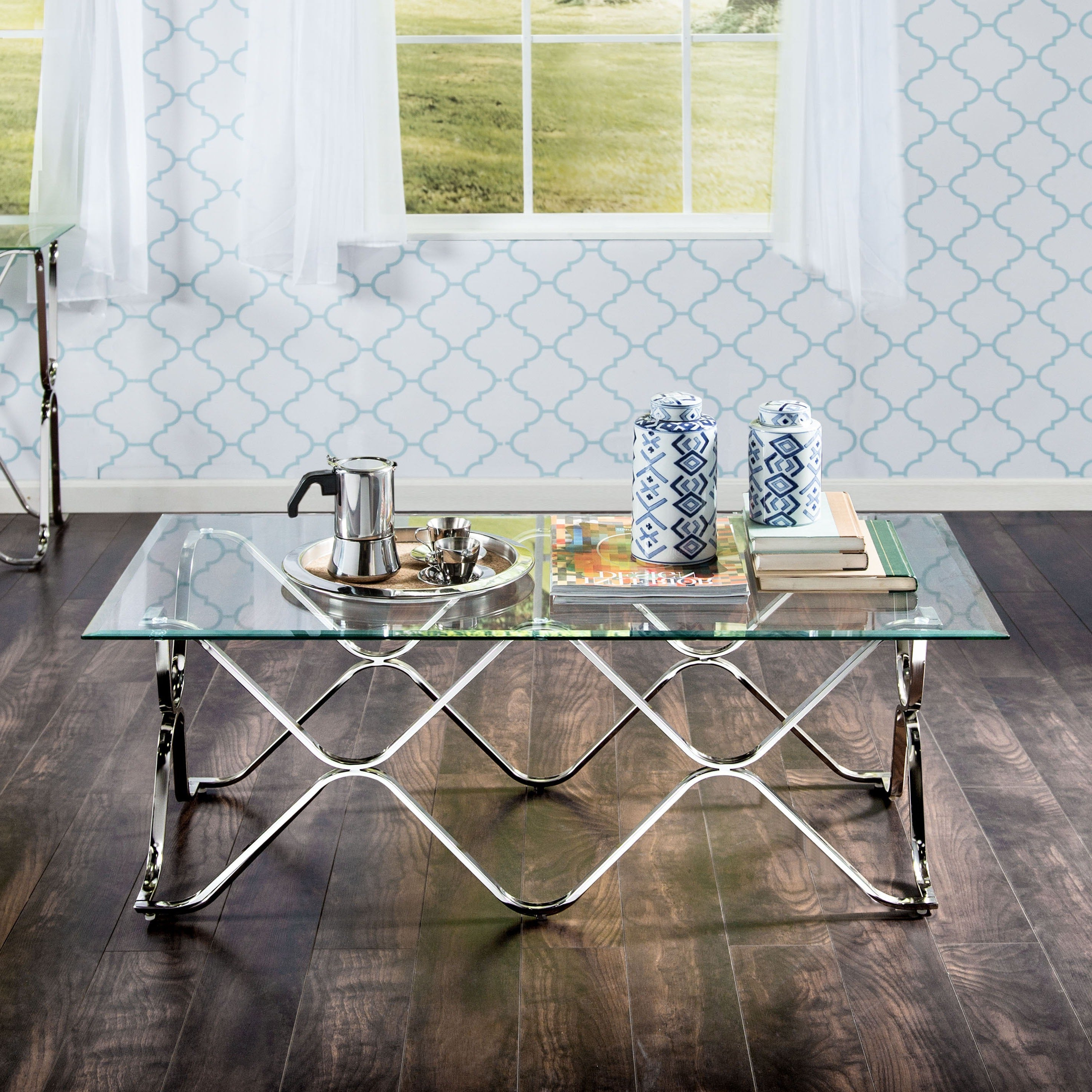 Well Known Furniture Of America Tellarie Contemporary Chrome Coffee Tables Throughout Furniture Of America Tellarie Contemporary Chrome Coffee Table – Silver (View 2 of 20)