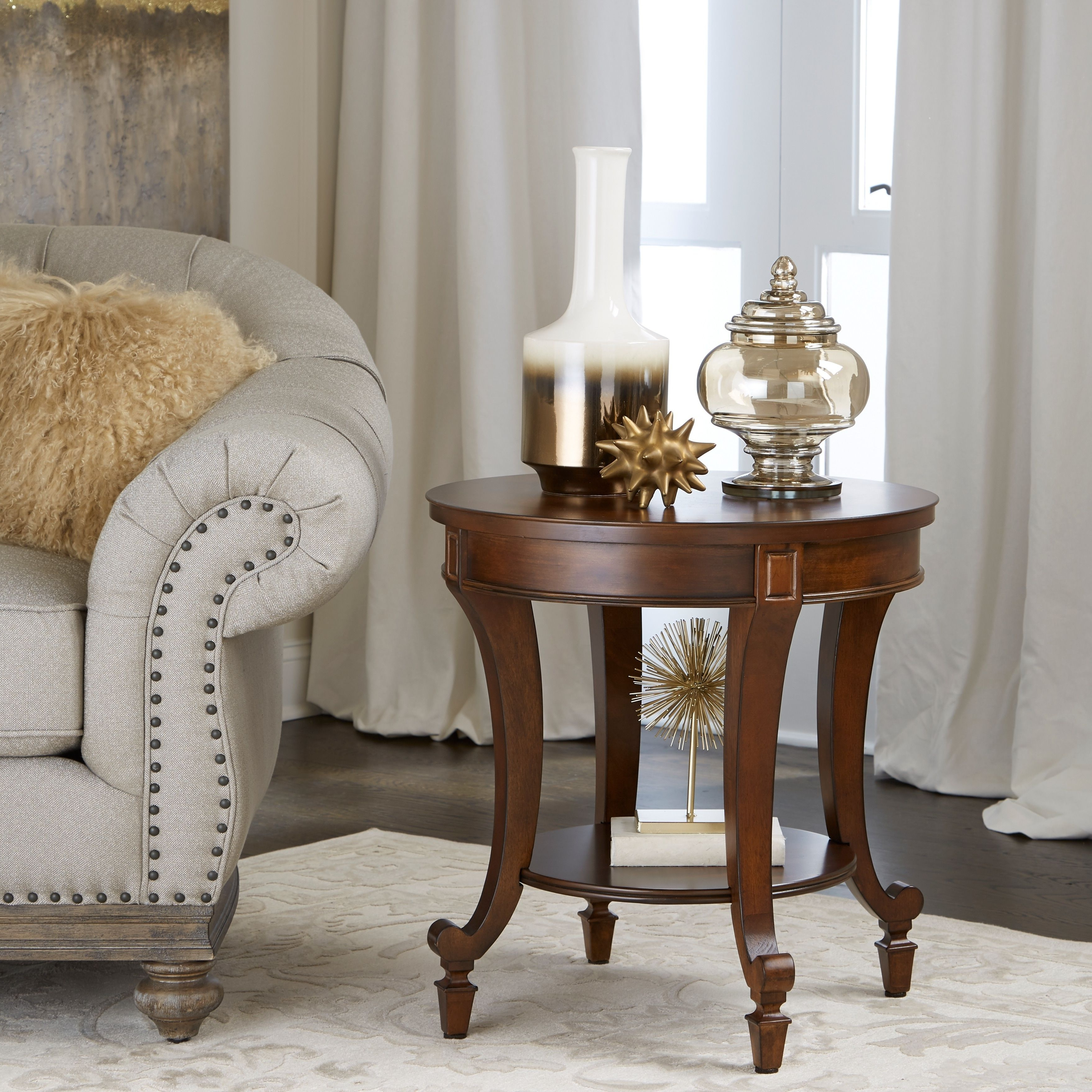 Well Known Gracewood Hollow Dones Traditional Cinnamon Round End Tables Inside Magnussen Home Furnishings Aidan Traditional Cinnamon Round (View 7 of 20)