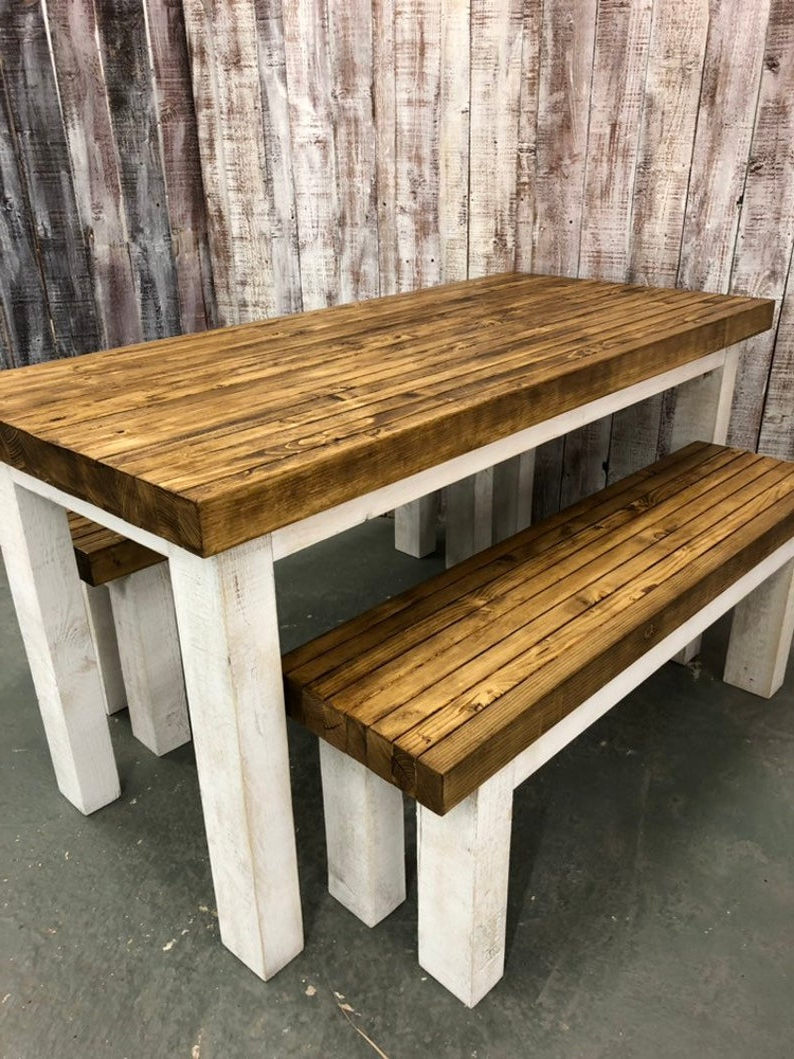 Well Known Handmade Whitewashed Stripped Wood Tables Within White Rustic Chunky Dining Set (View 14 of 20)