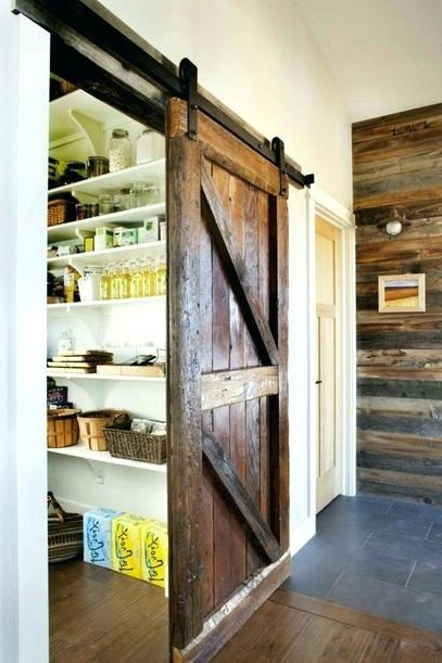Well Known Mihika Kitchen Pantry Within Rustic Sliding Barn Door For A Kitchen Pantry Distressed (View 20 of 20)