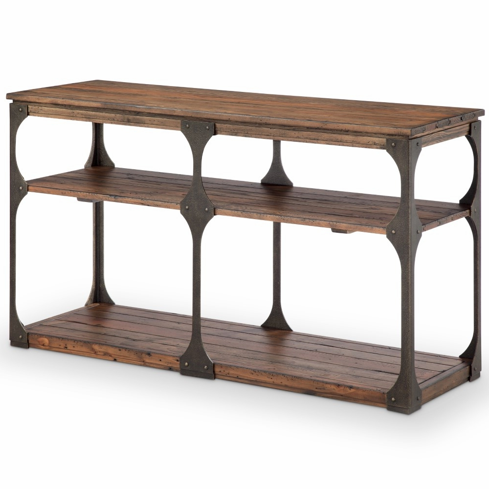 Well Known Montgomery Industrial Reclaimed Wood Coffee Tables With Casters For Magnussen – Montgomery Industrial Reclaimed Wood Rectangular Entryway Table  In Bourbon Finish – T4112  (View 19 of 20)