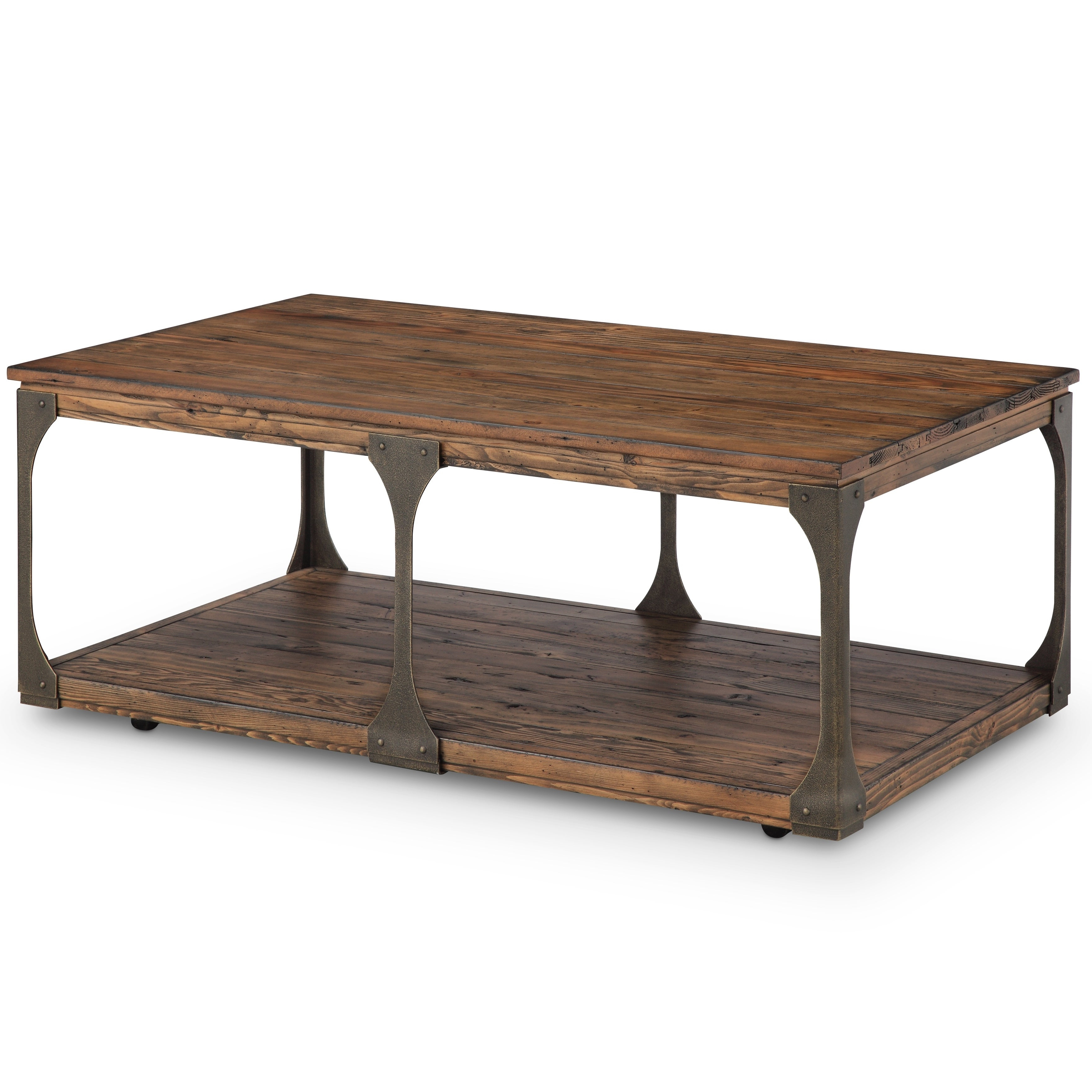 Well Known Montgomery Industrial Reclaimed Wood Coffee Tables With Casters Inside Montgomery Industrial Bourbon Reclaimed Wood Coffee Table With Casters (View 17 of 20)