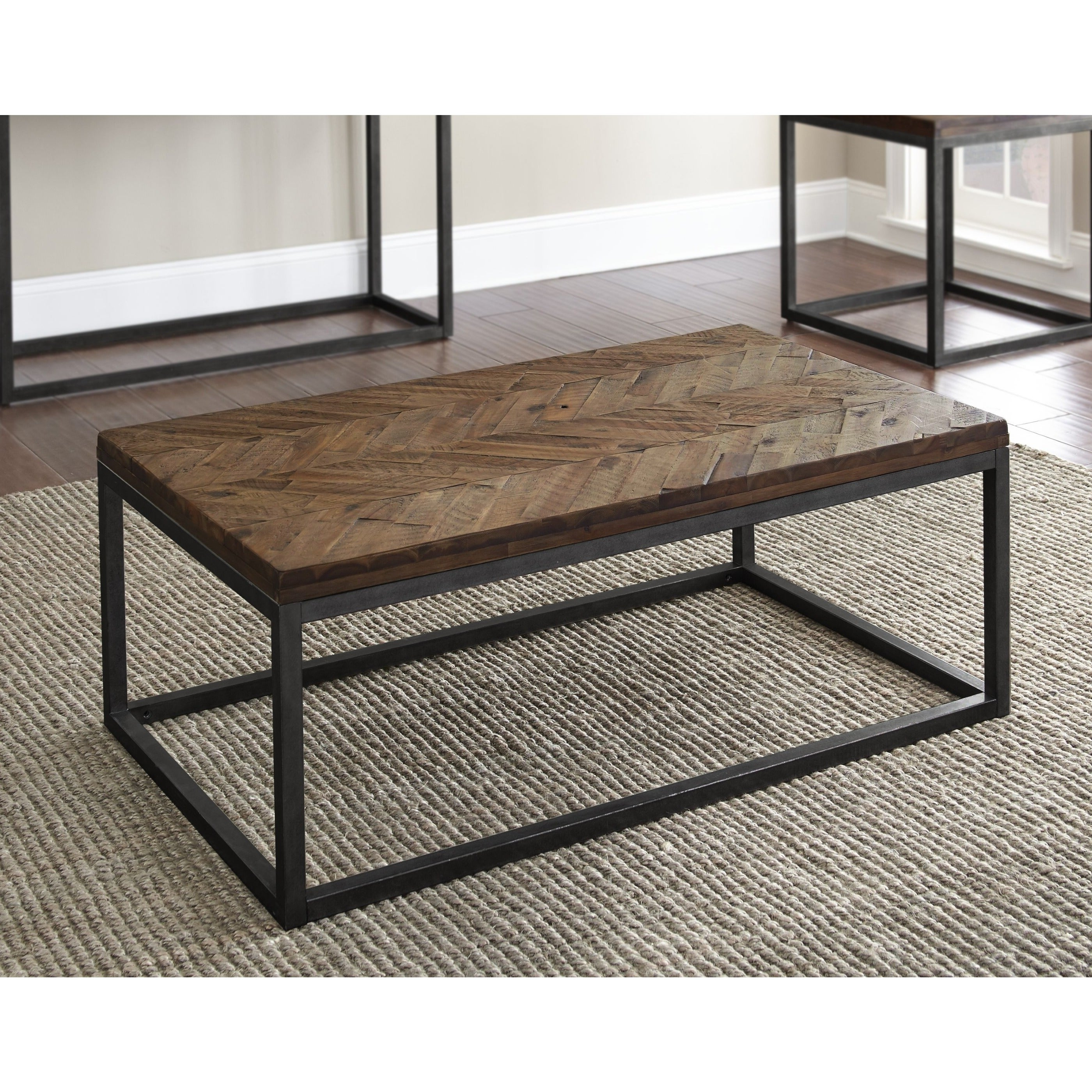 Well Known Paris Natural Wood And Iron 30 Inch Square Coffee Tables Inside Lockwood 48 Inch Rectangle Coffee Tablegreyson Living (View 8 of 20)