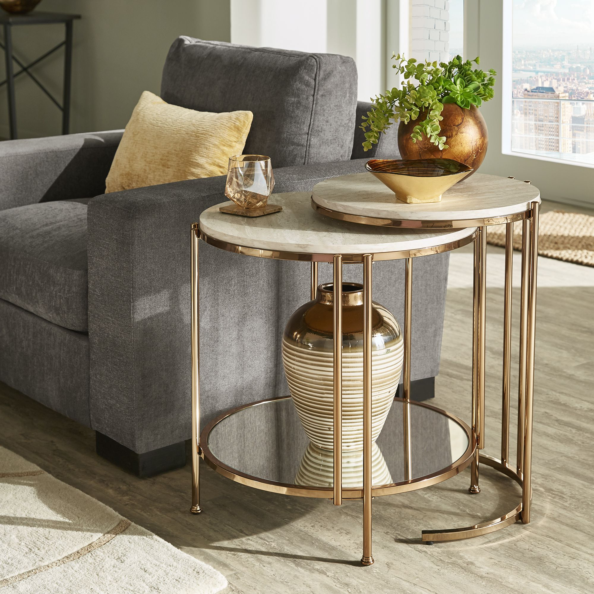 Well Known Silver Orchid Grant Glam Nesting Cocktail Tables Inside Celsus Champagne Gold Finish Nesting Table Setinspire Q (View 14 of 20)