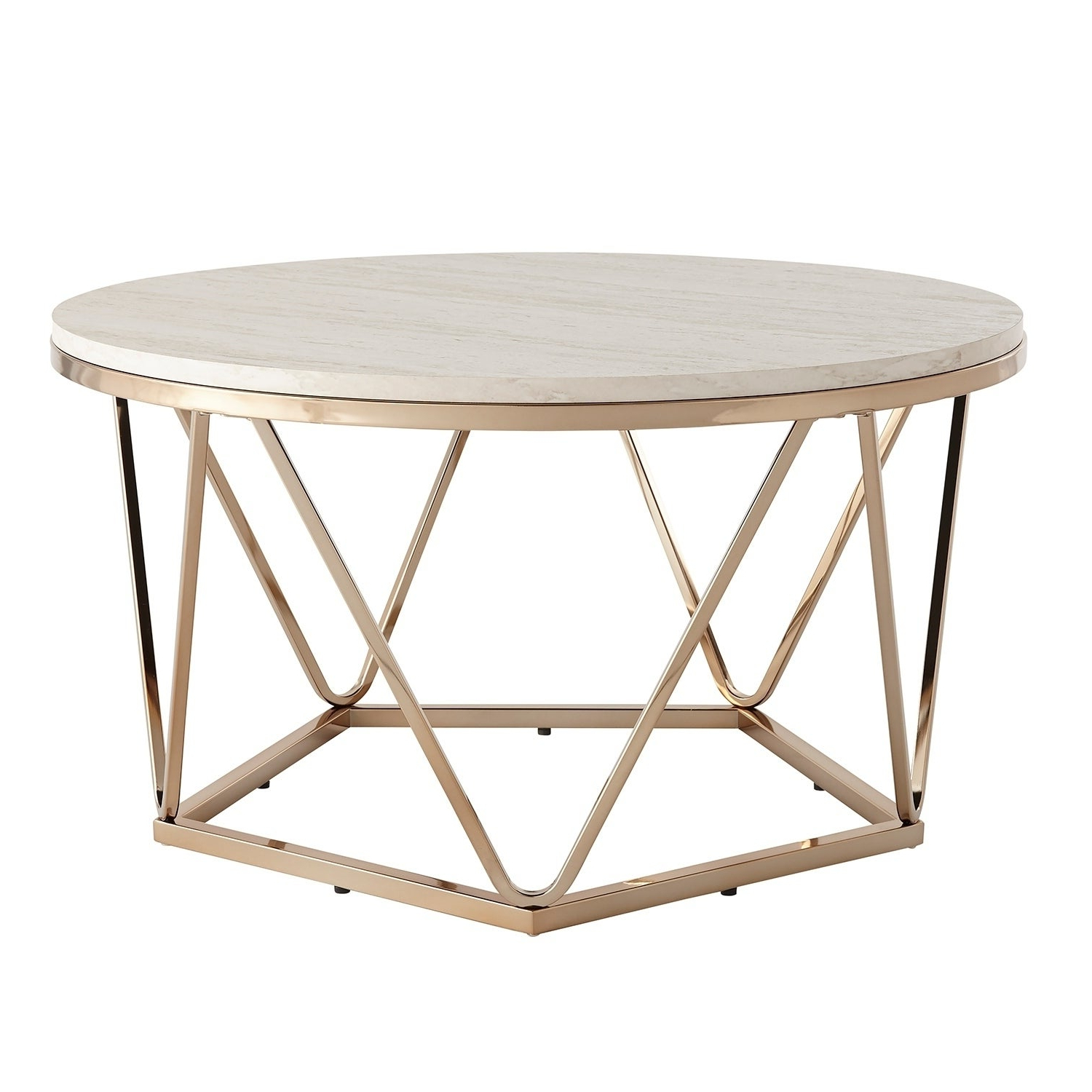 Well Known Silver Orchid Henderson Faux Stone Round End Tables Pertaining To Silver Orchid Henderson Faux Stone Goldtone Round Coffee Table (View 8 of 20)