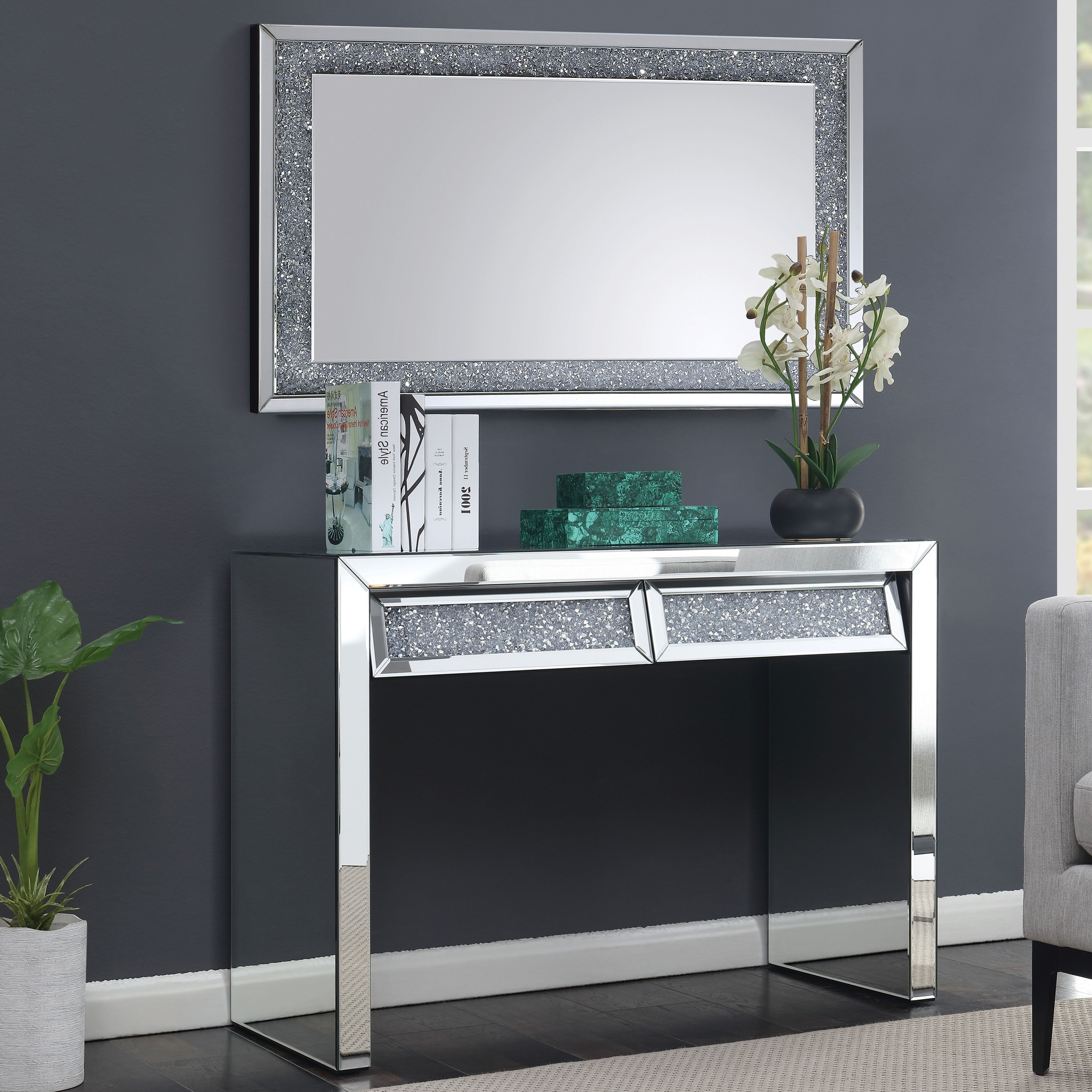 Well Known Thalberg Contemporary Chrome Coffee Tables By Foa For Furniture Of America Aarika Mirrored Dressing Table, Silver (View 18 of 20)
