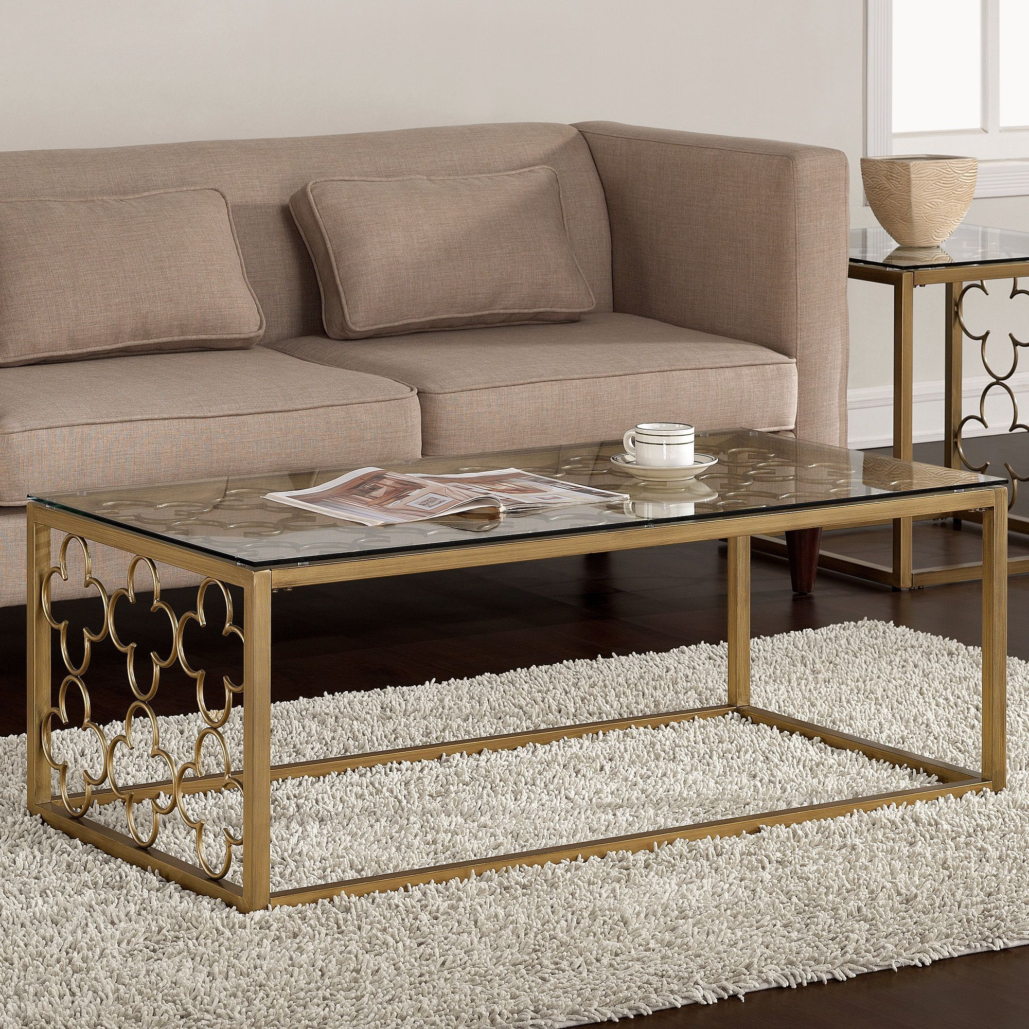 Well Known The Curated Nomad Quatrefoil Goldtone Metal And Glass Coffee Tables In The Curated Nomad Quatrefoil Goldtone Metal And Glass Coffee (View 17 of 20)