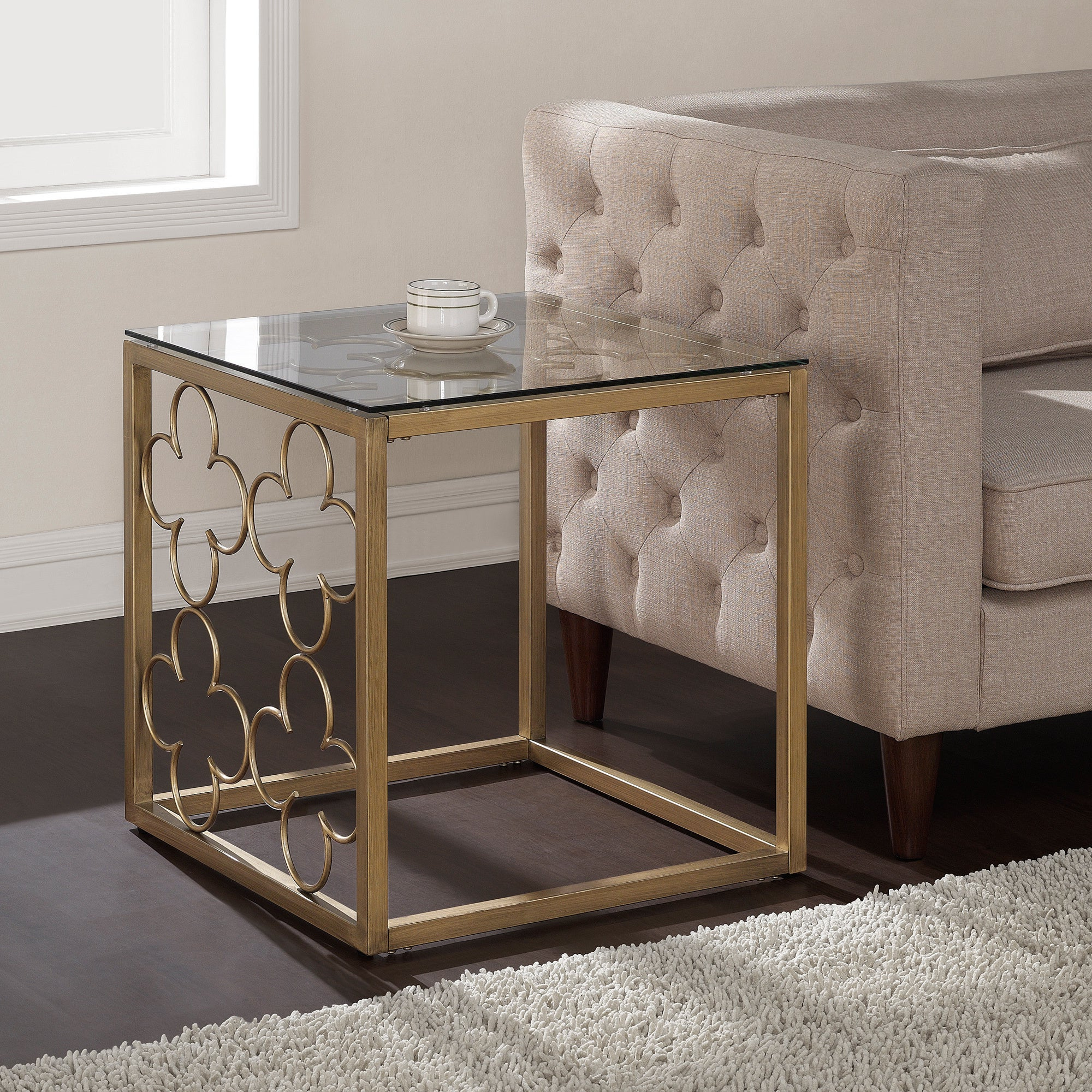 Well Known The Curated Nomad Quatrefoil Goldtone Metal And Glass Coffee Tables Inside The Curated Nomad Quatrefoil Goldtone Metal And Glass End Table (View 19 of 20)