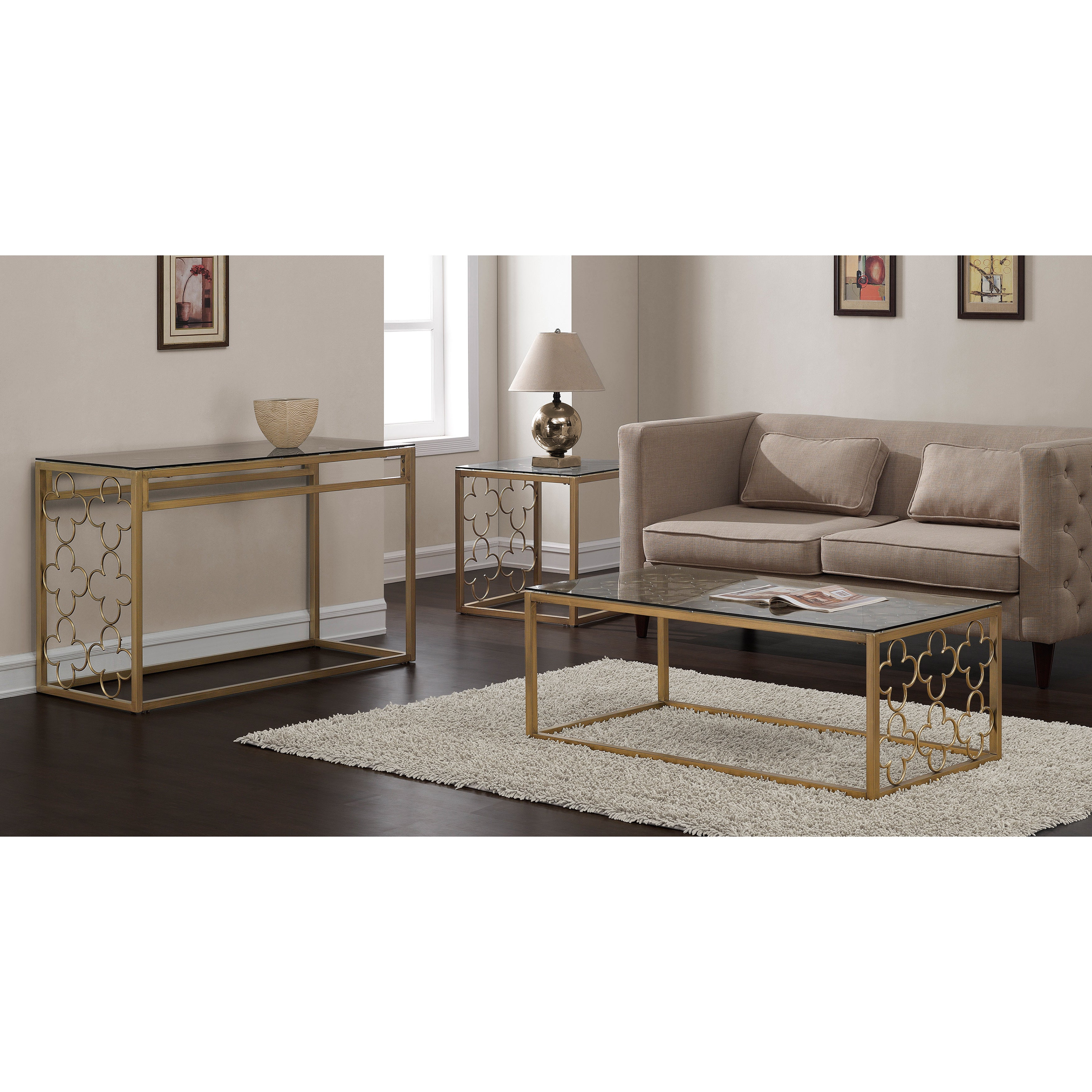Well Known The Curated Nomad Quatrefoil Goldtone Metal And Glass Coffee Tables Throughout The Curated Nomad Quatrefoil Goldtone Metal And Glass Sofa Table (View 18 of 20)