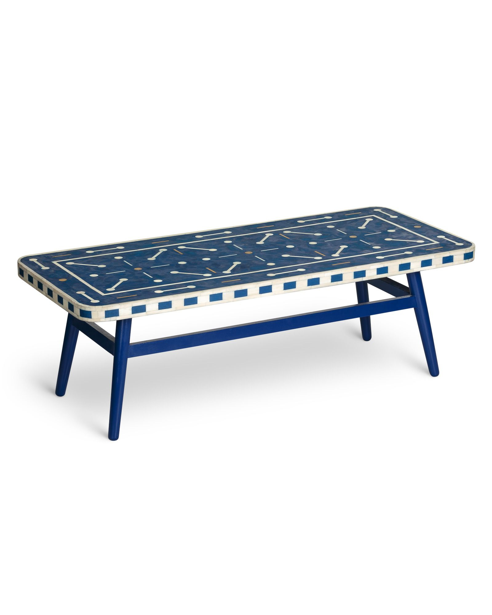 Well Known Tribeca Contemporary Distressed Silver And Smoke Grey Coffee Tables With Regard To Lohko Bone & Brass Inlay Blue Coffee Table (View 20 of 20)