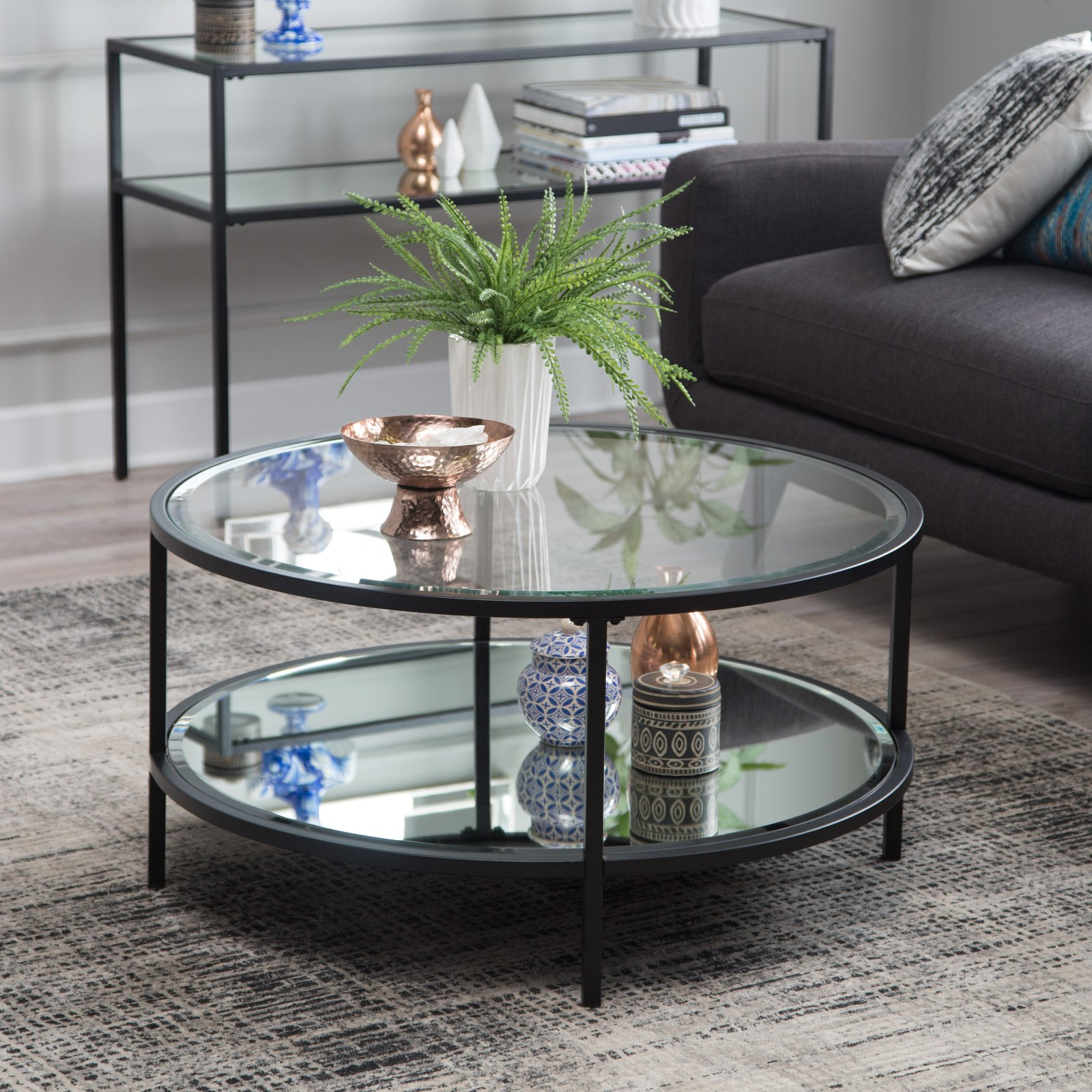 Well Liked Carbon Loft Heimlich Pewter Steel/glass Round Coffee Tables Inside Belham Living Lamont Round Coffee Table – Black In  (View 20 of 20)