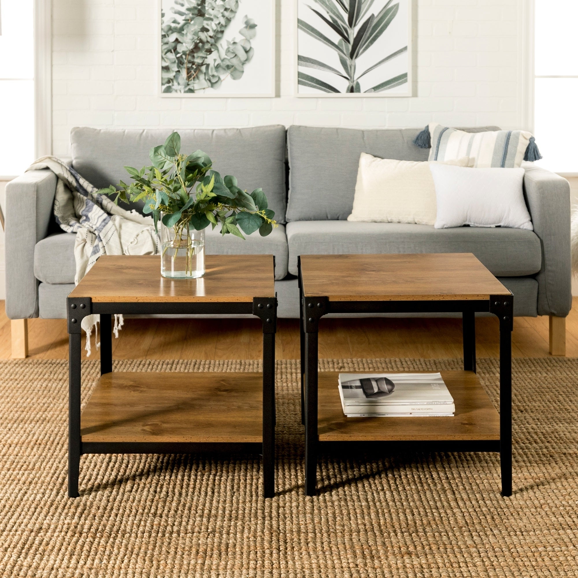 """Well Liked Carbon Loft Witten Angle Iron And Driftwood Coffee Tables With Carbon Loft Witten 20"""" Square Angle Iron End Table, Set Of 2 – 20 X 20 X 20H (View 20 of 20)"""