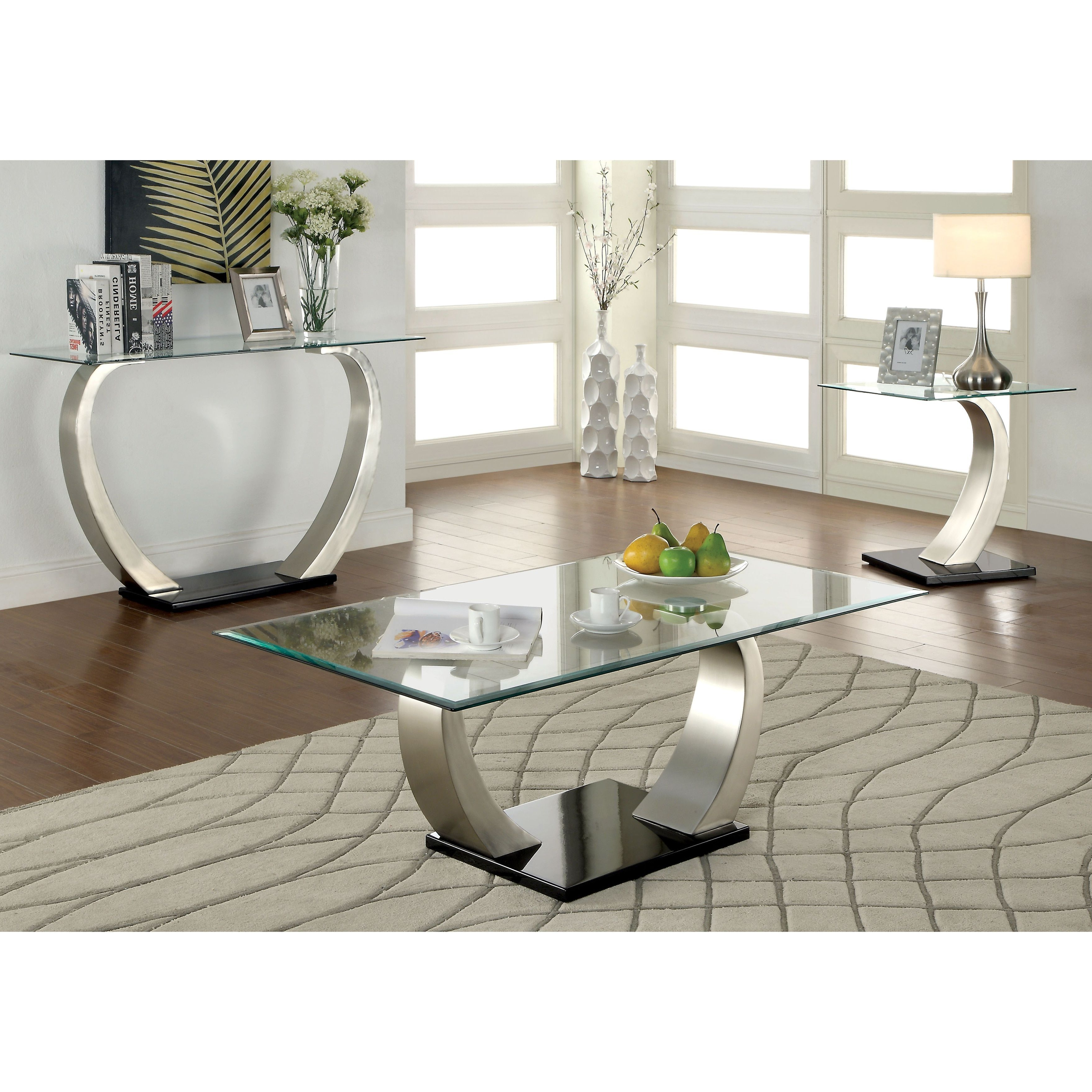 Well Liked Carmella Satin Plated Coffee Tables Throughout Furniture Of America Carmella Modern 3 Piece Accent Table (View 8 of 20)