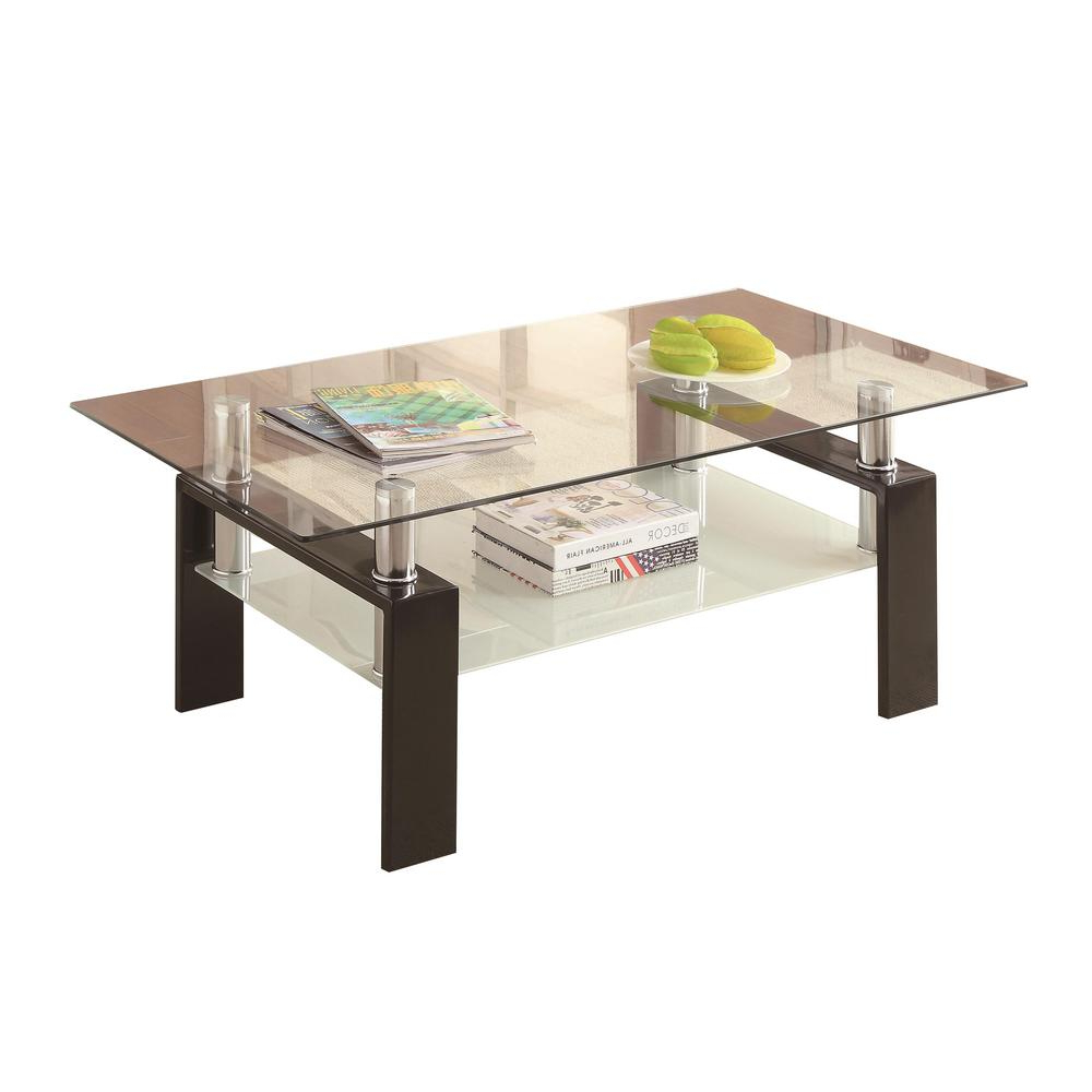 Well Liked Coaster Company Silver Glass Coffee Tables Intended For Black And Clear Tempered Glass Coffee Table With Shelf (View 13 of 20)