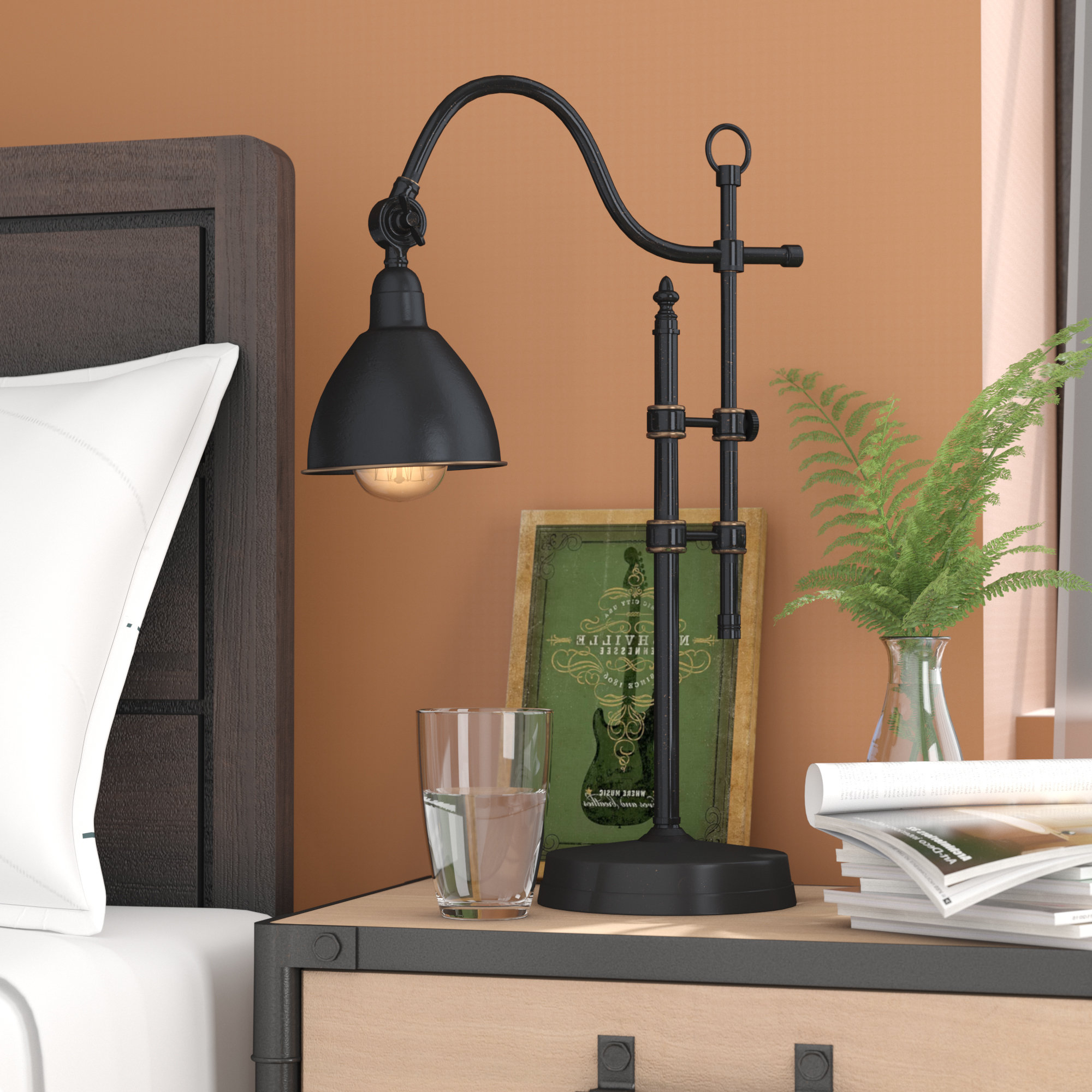 """Well Liked Corey Rustic Brown Accent Tables Within Corey 24"""" Arched Table Lamp (View 20 of 20)"""